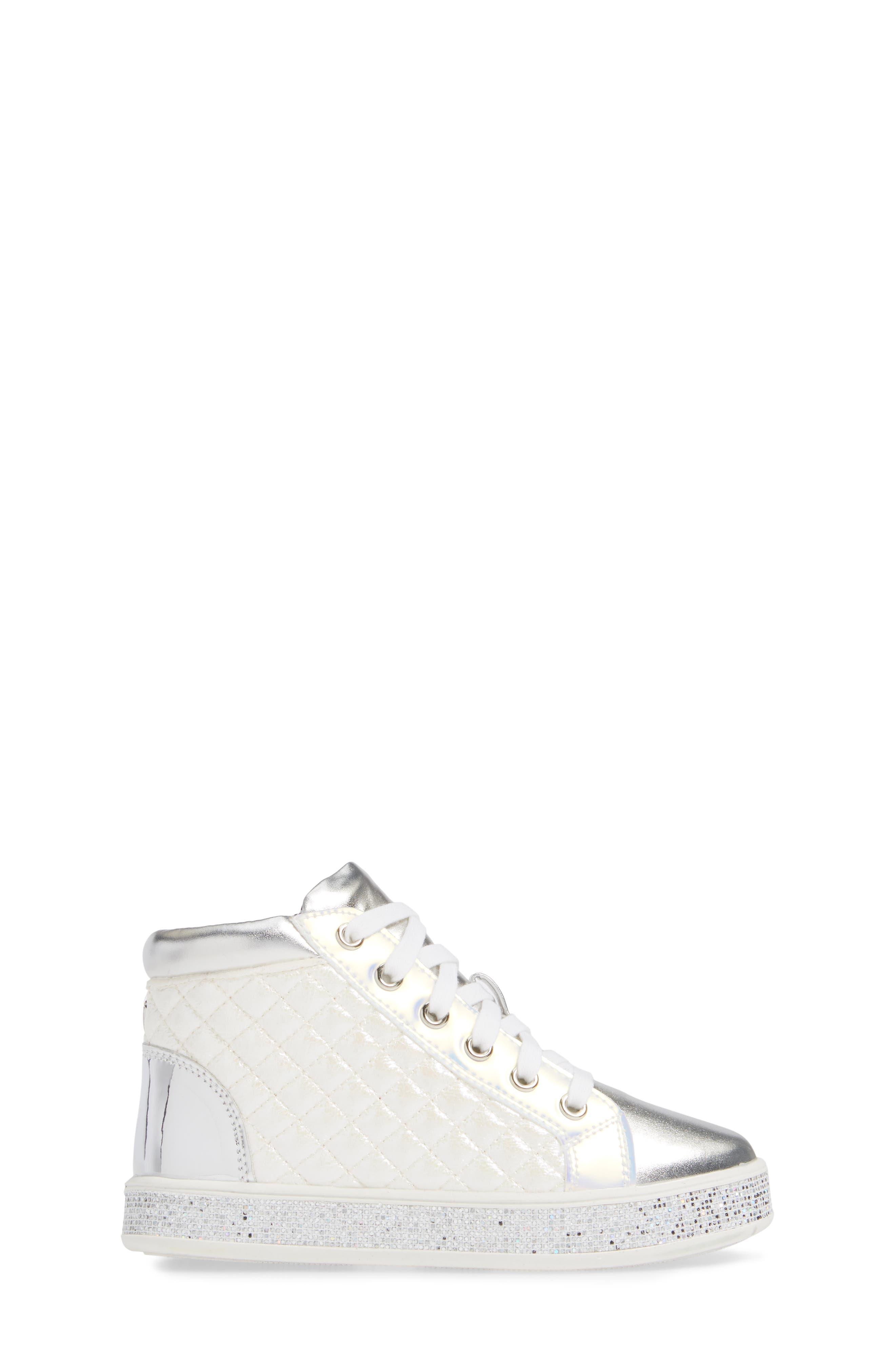 Glittery High Top Sneaker,                             Alternate thumbnail 3, color,                             WHITE