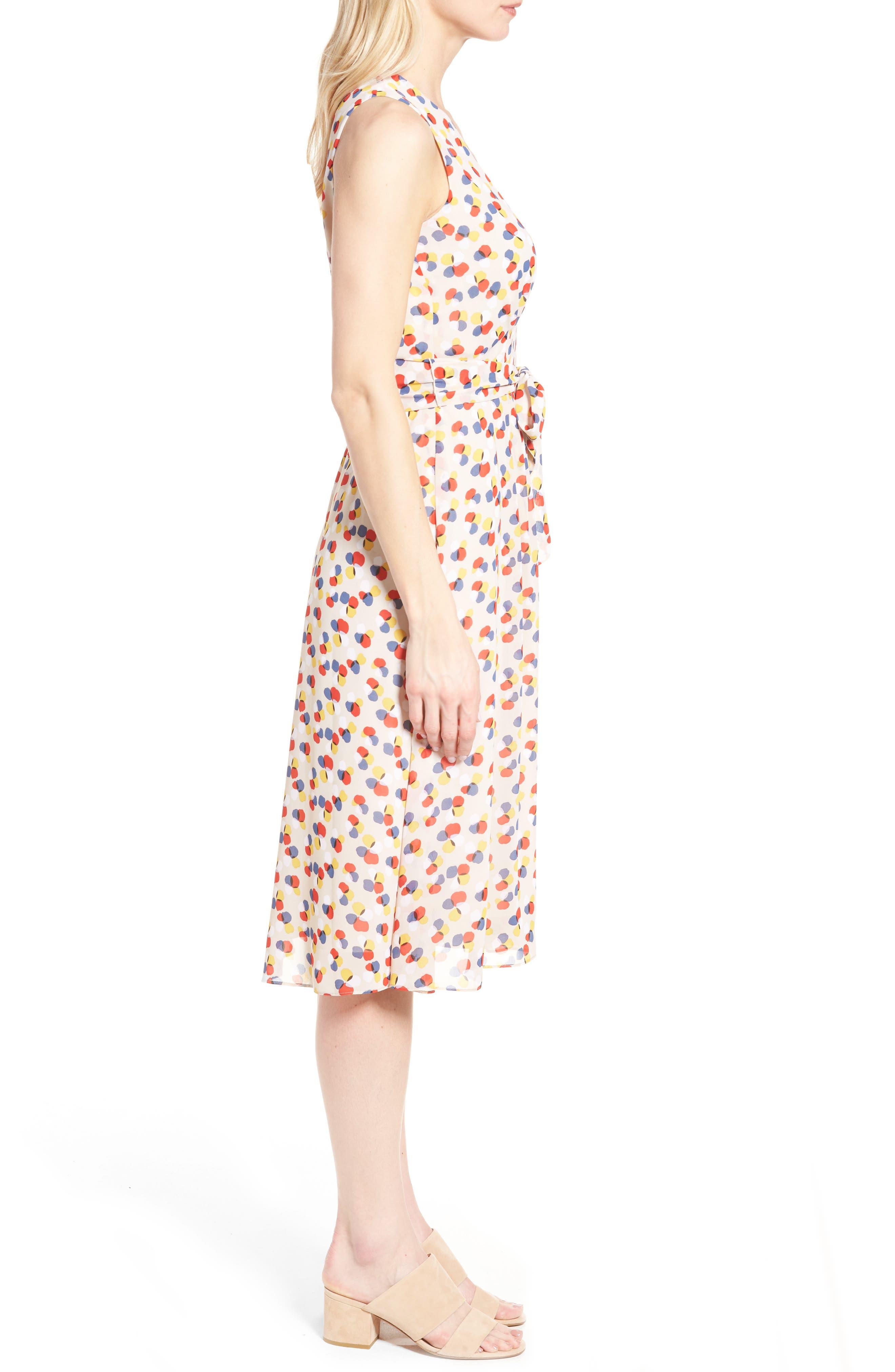 Print Chiffon Dress,                             Alternate thumbnail 3, color,