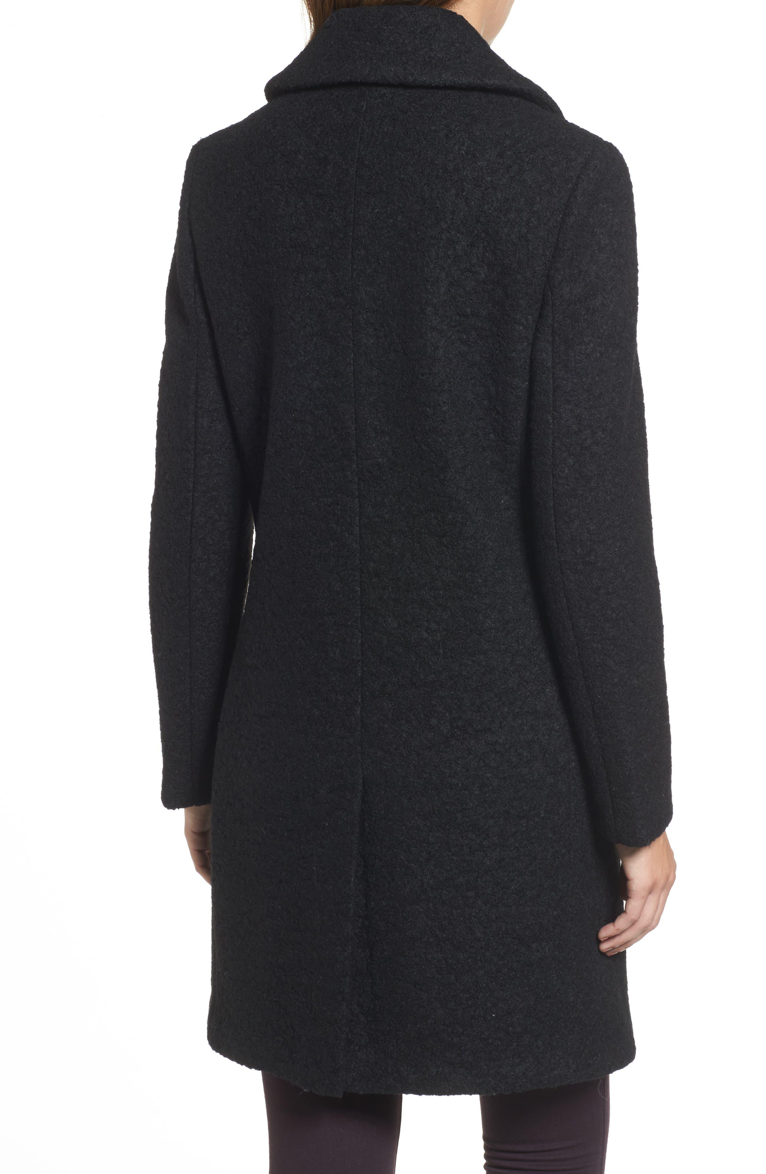 'Tessa' Boiled Wool Blend Coat,                             Alternate thumbnail 2, color,                             001