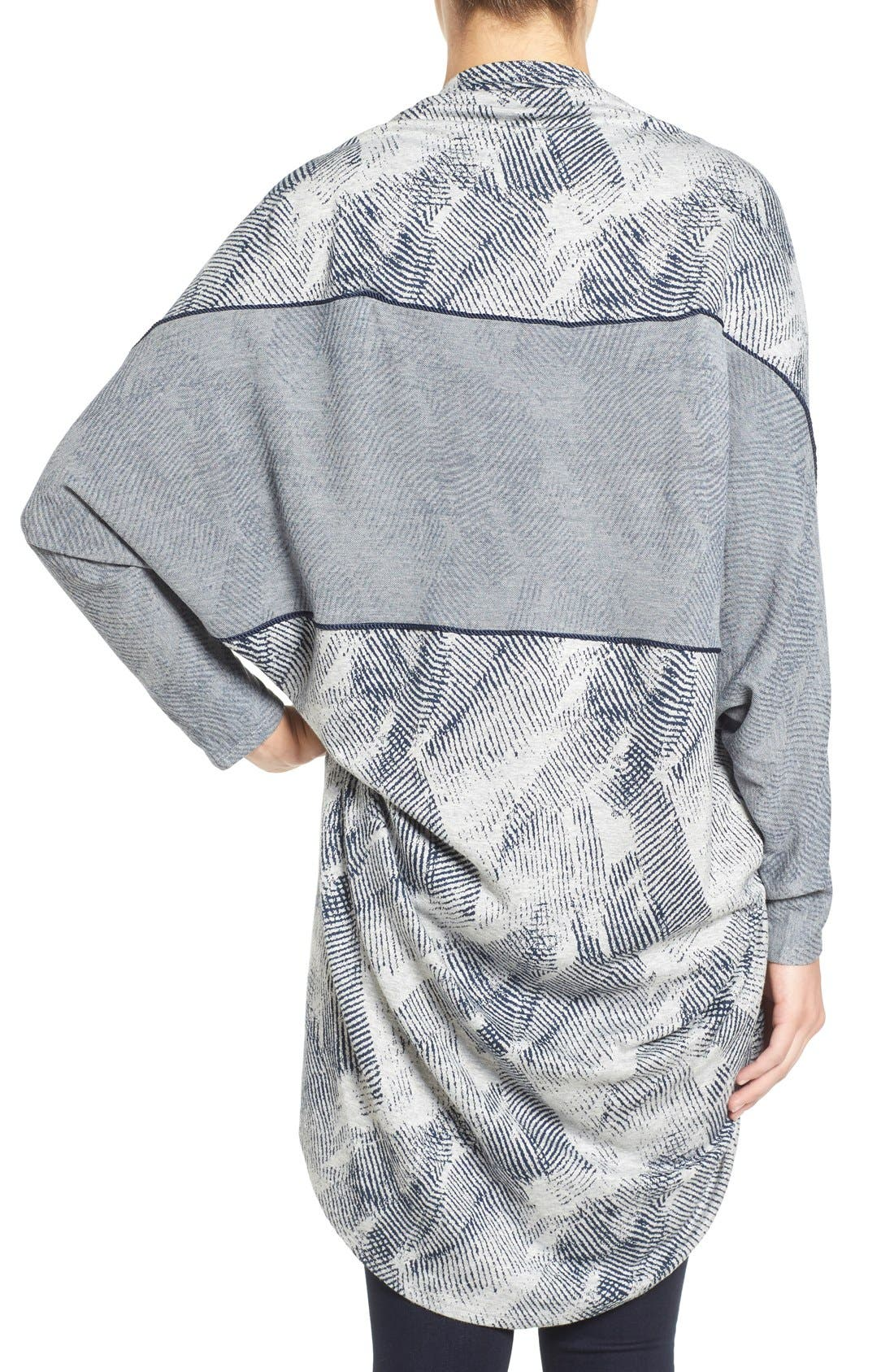 'Meesha' Open Front Maternity Cardigan,                             Alternate thumbnail 4, color,                             HEATHER GREY/NAVY