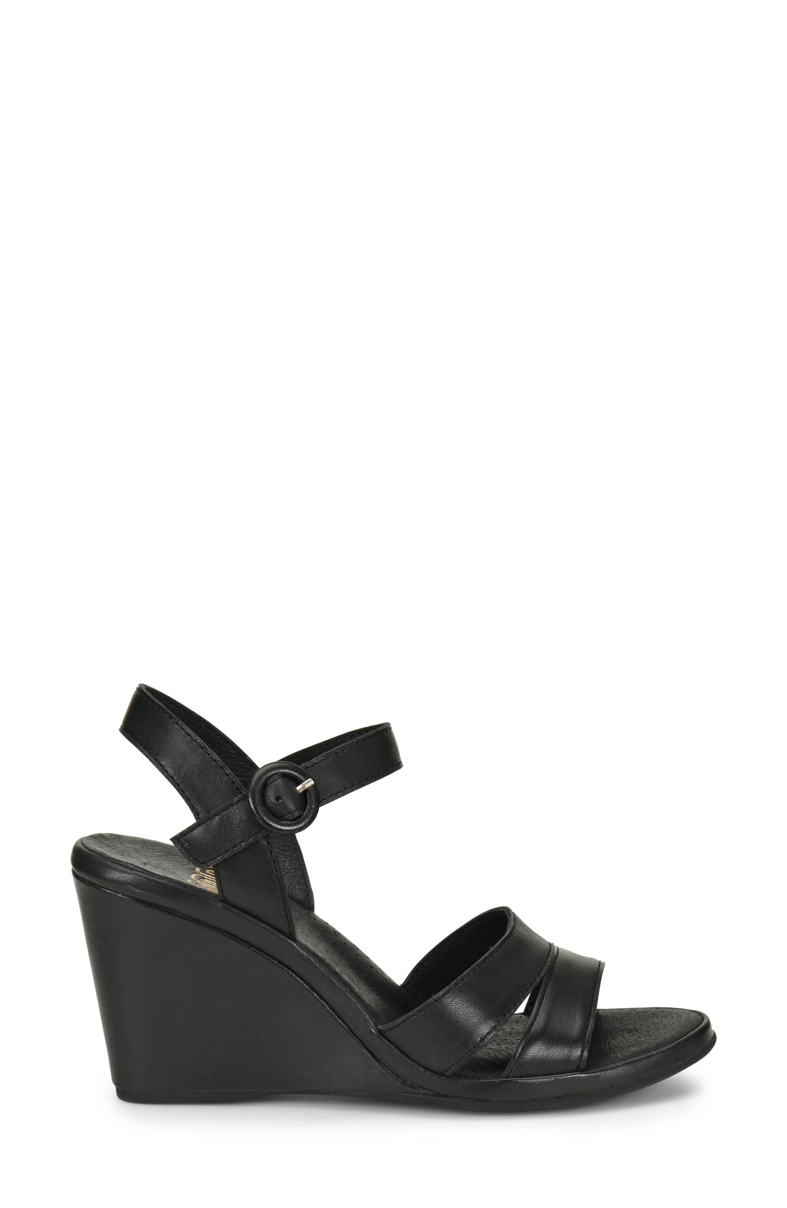Hydro Wedge Sandal,                             Alternate thumbnail 3, color,                             BLACK LEATHER