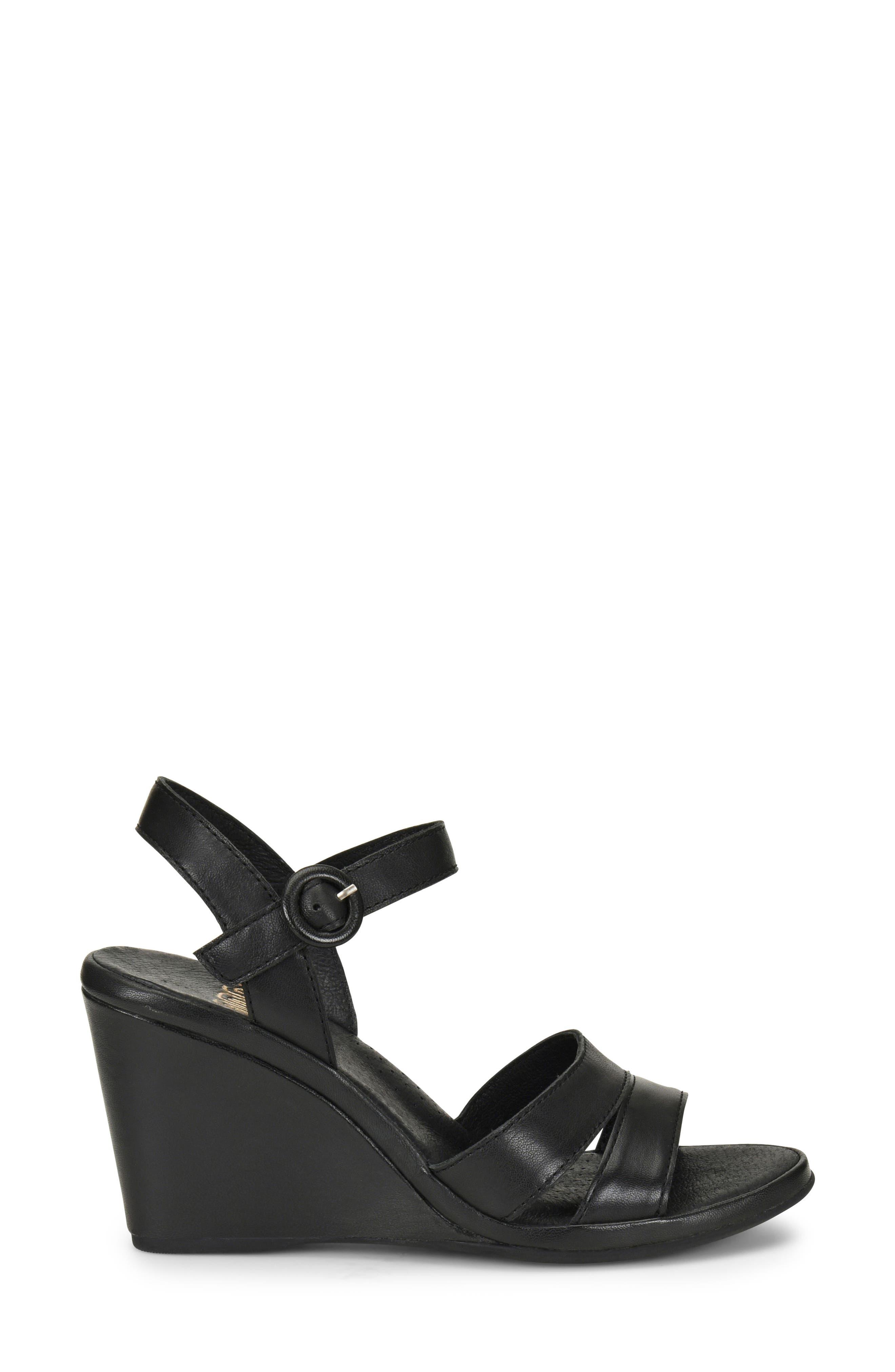 ONO,                             Hydro Wedge Sandal,                             Alternate thumbnail 3, color,                             BLACK LEATHER