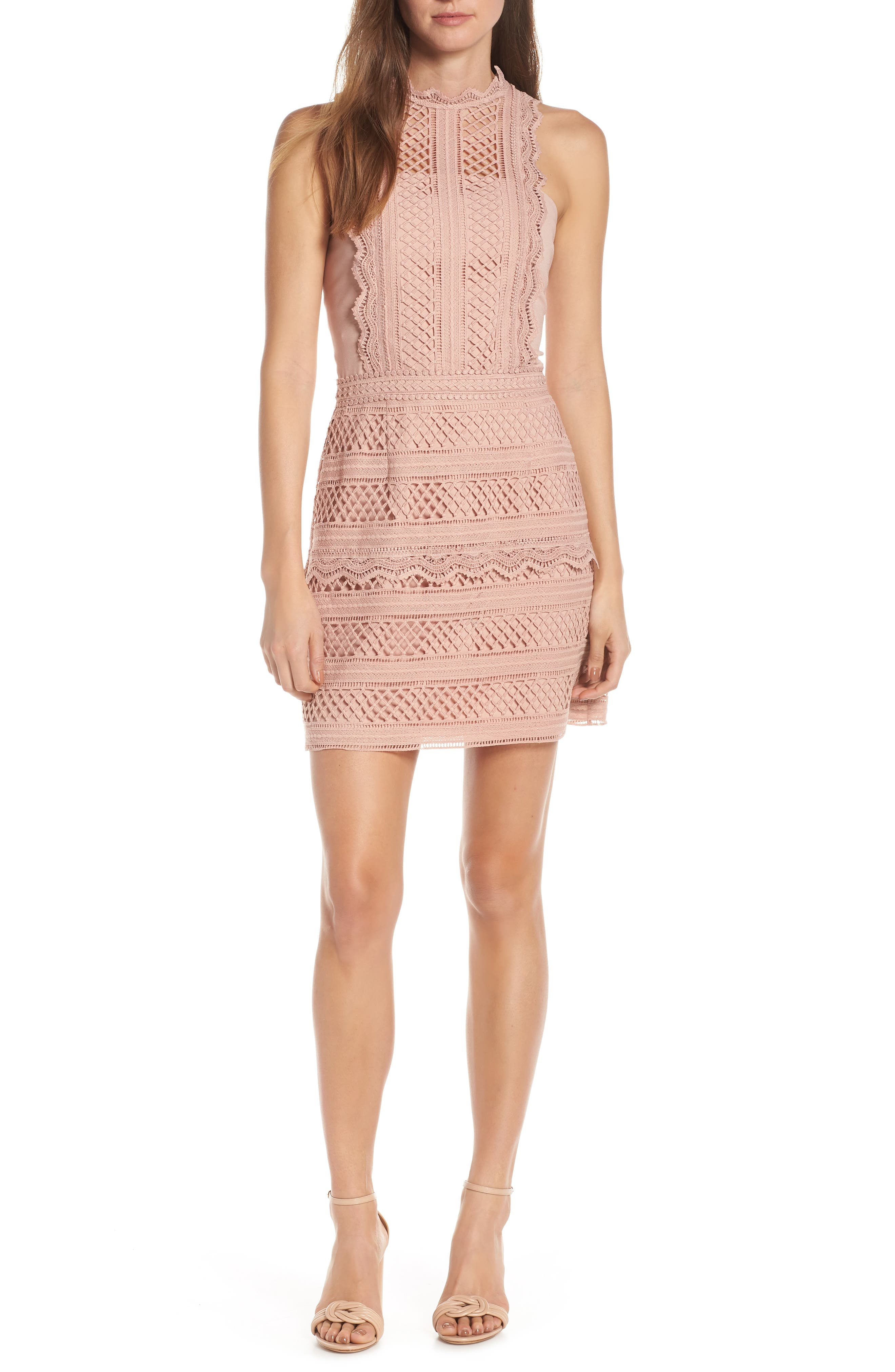 Adelyn Rae Noelle Mock Neck Lace Dress, Pink
