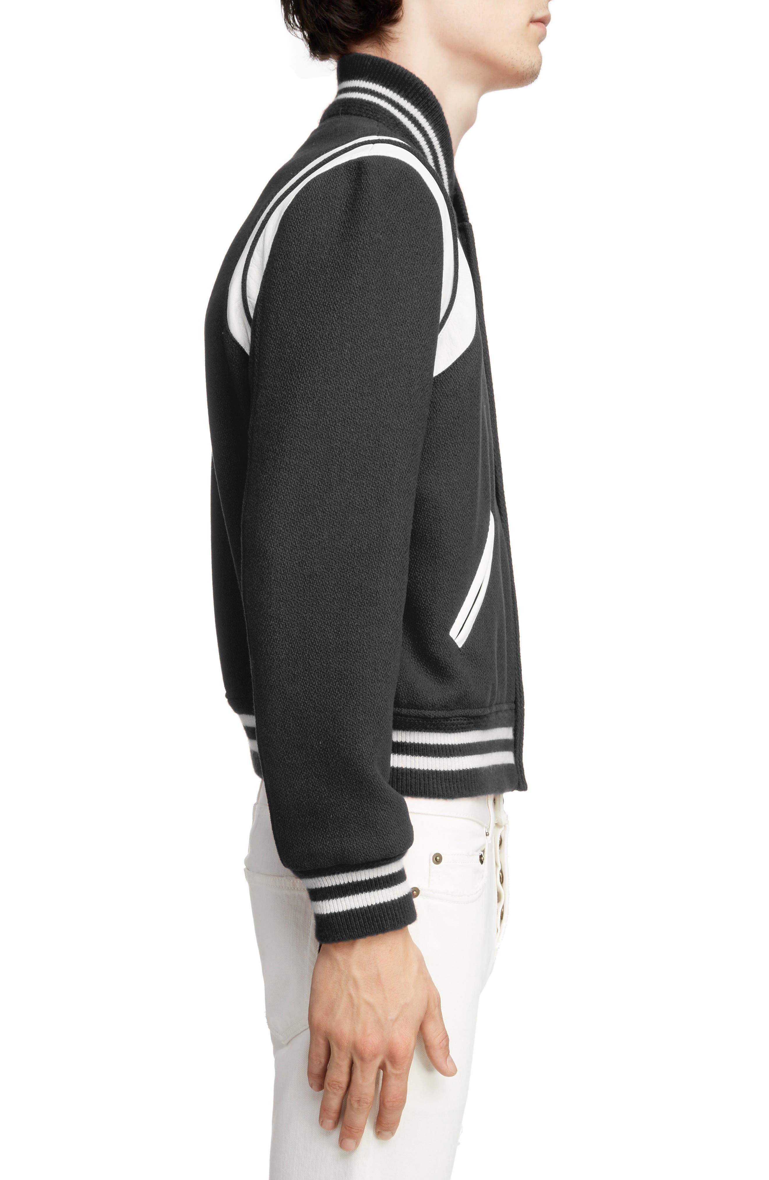 Teddy Wool Varsity Jacket,                             Alternate thumbnail 3, color,                             BLACK