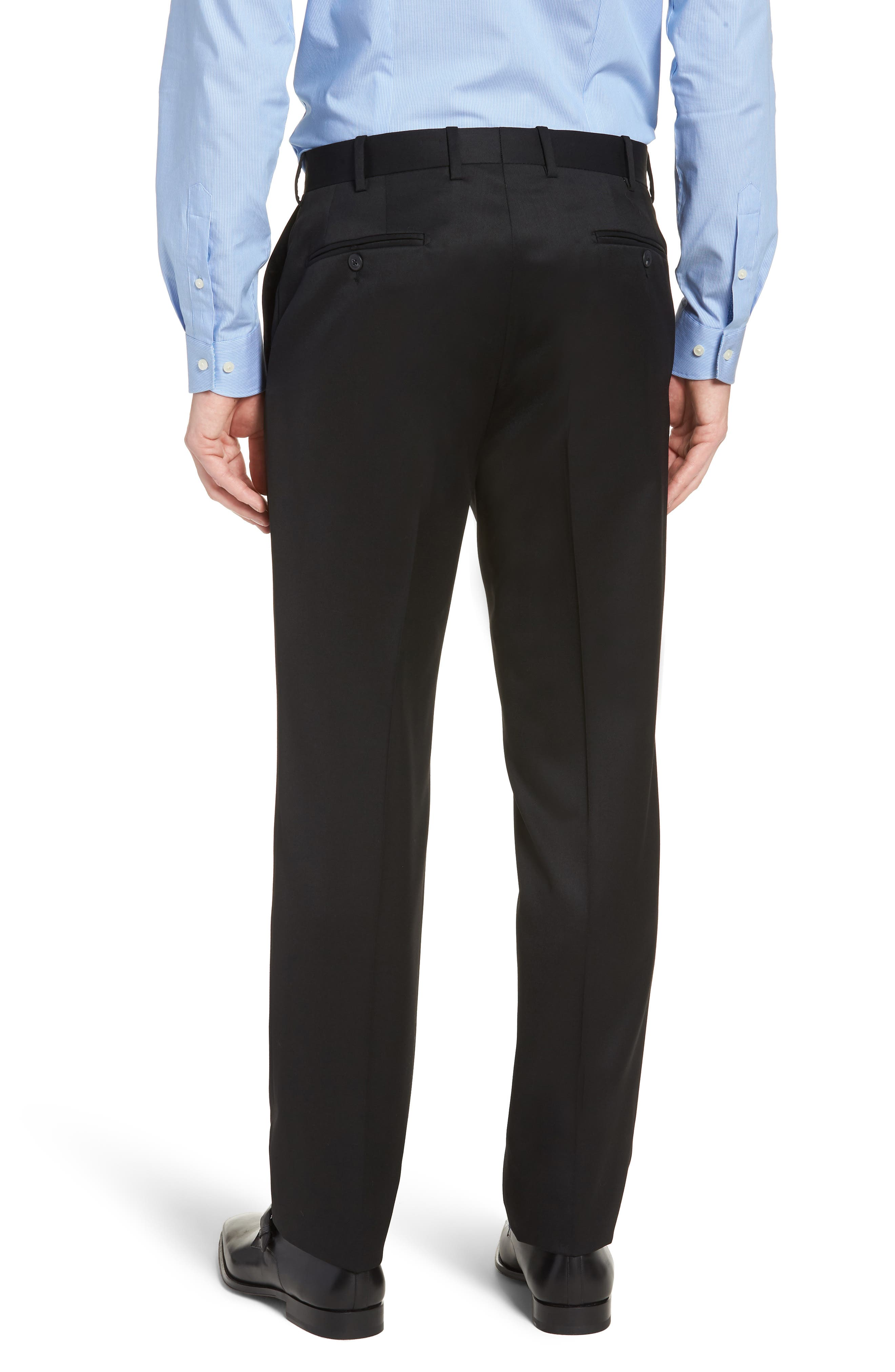 Torino Traditional Fit Flat Front Solid Trousers,                             Alternate thumbnail 2, color,                             BLACK