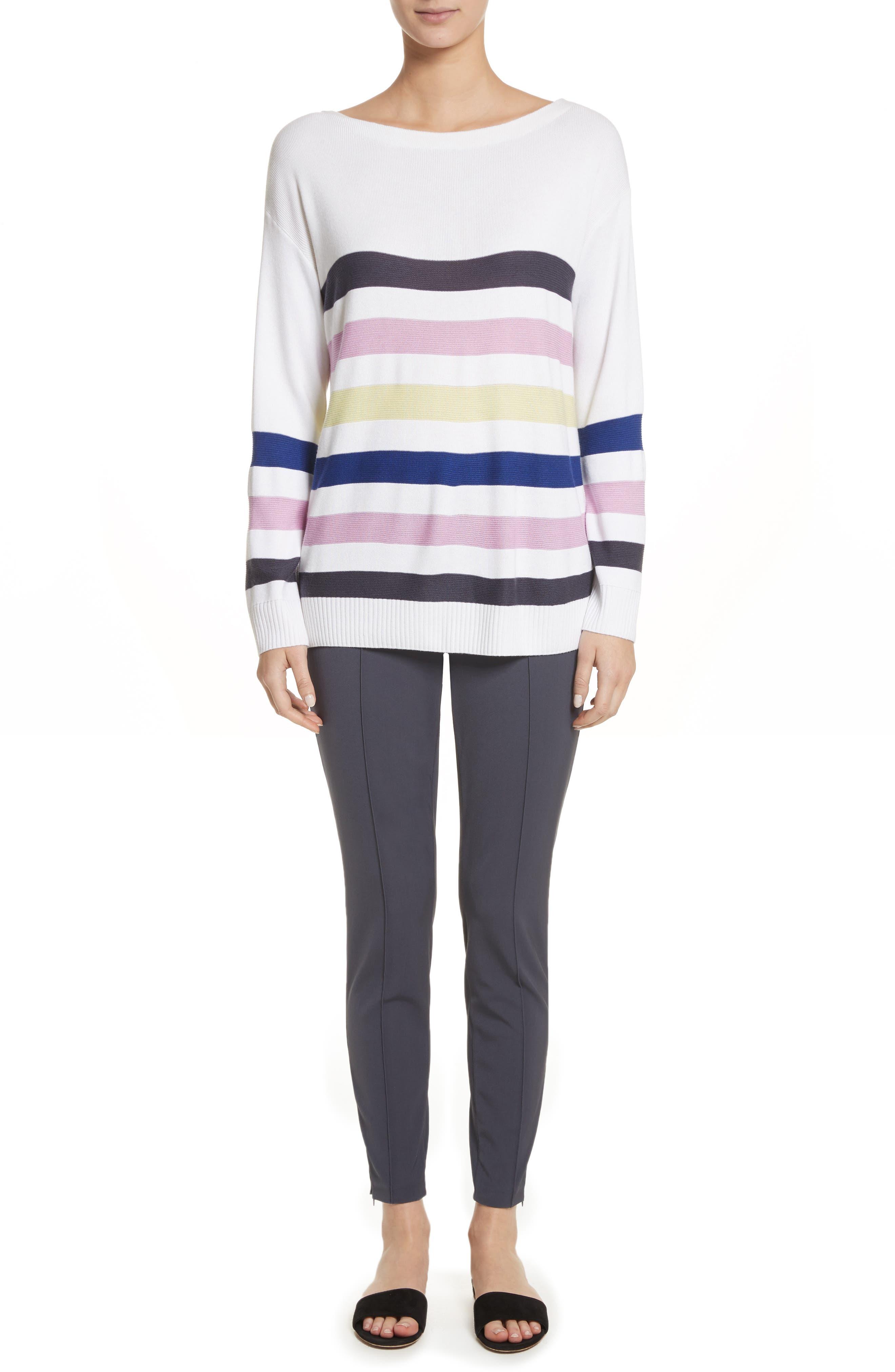 Links Stripe Knit Sweater,                             Alternate thumbnail 7, color,                             100