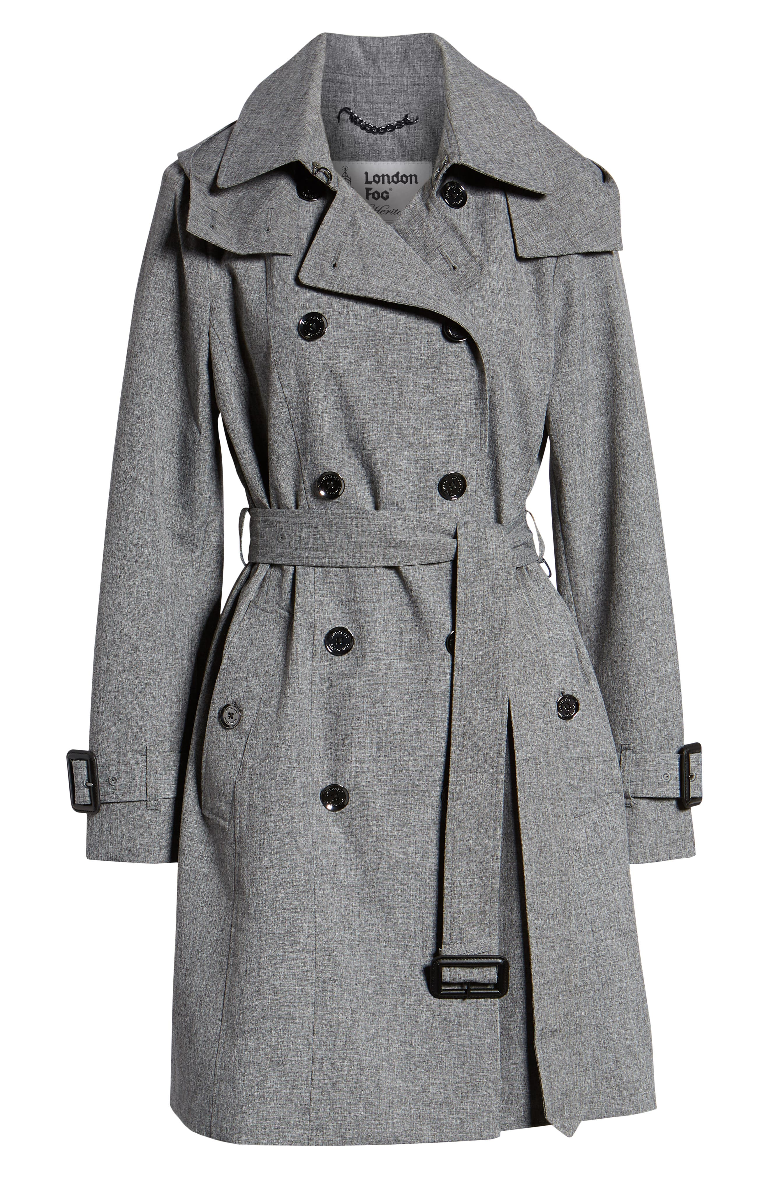 Double Breasted Trench Coat,                             Alternate thumbnail 6, color,                             CHARCOAL