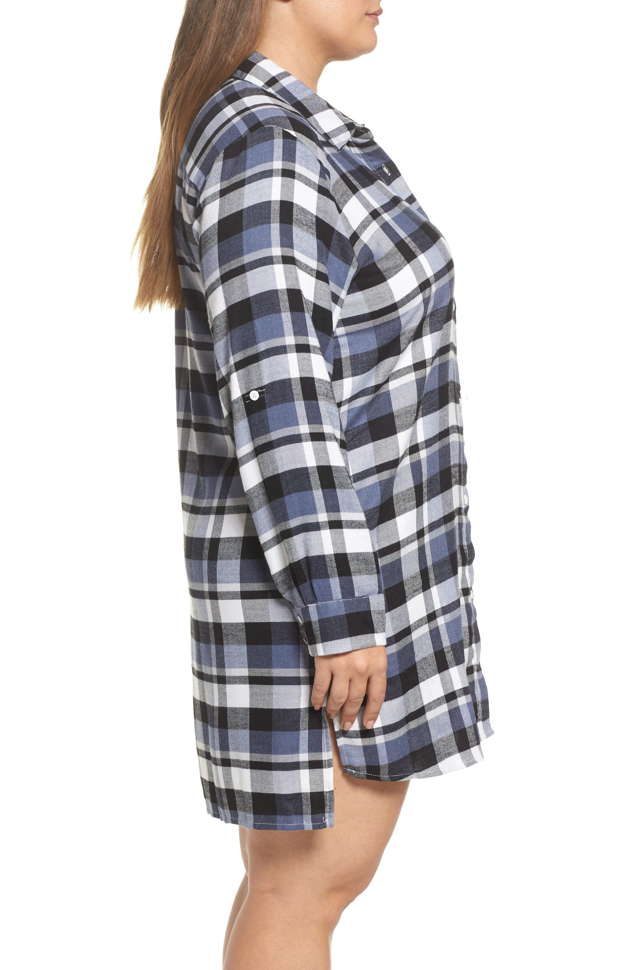 Plaid Sleep Shirt,                             Alternate thumbnail 3, color,                             400