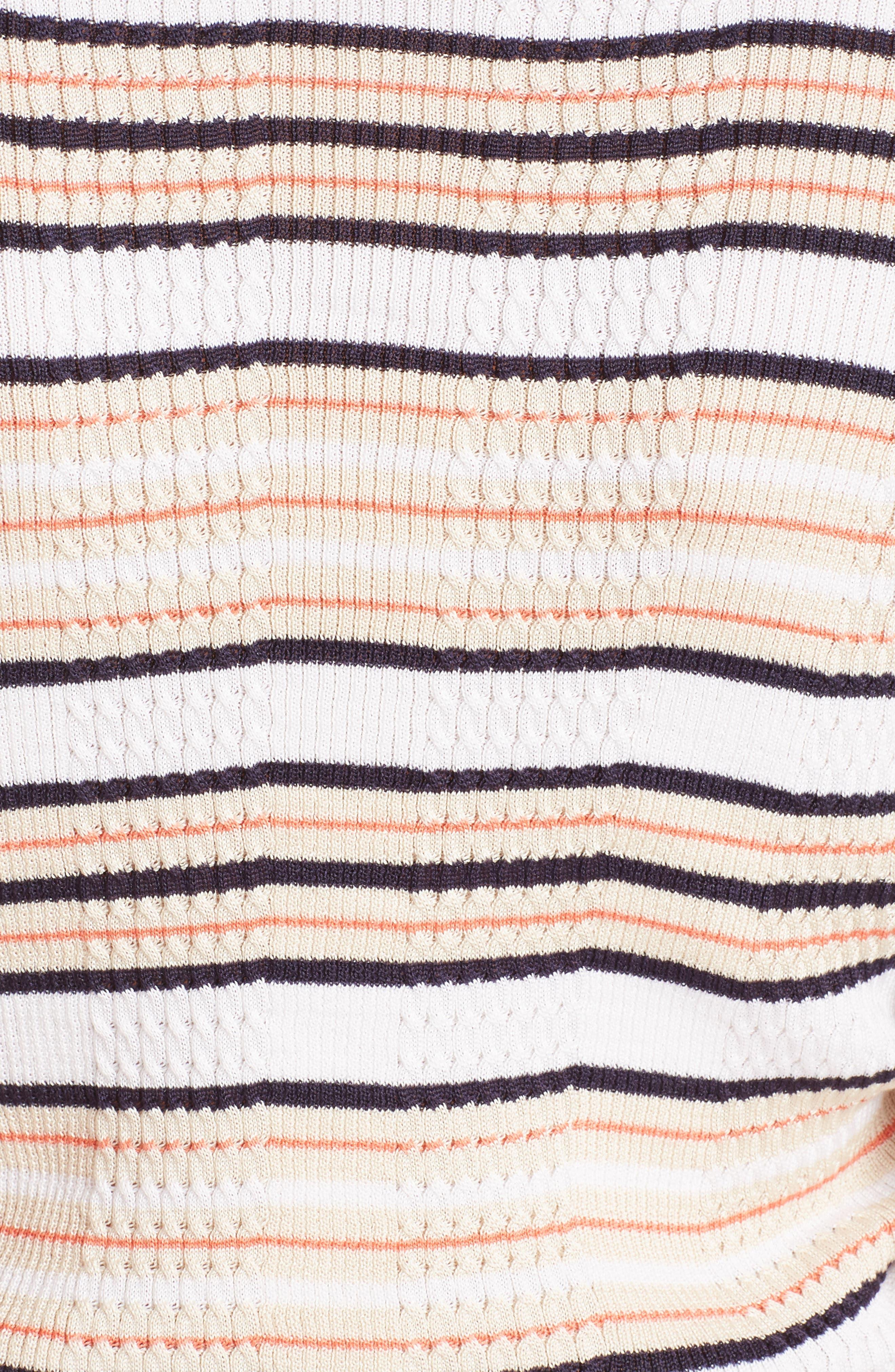Cold Shoulder Stripe Silk Blend Sweater,                             Alternate thumbnail 5, color,                             148