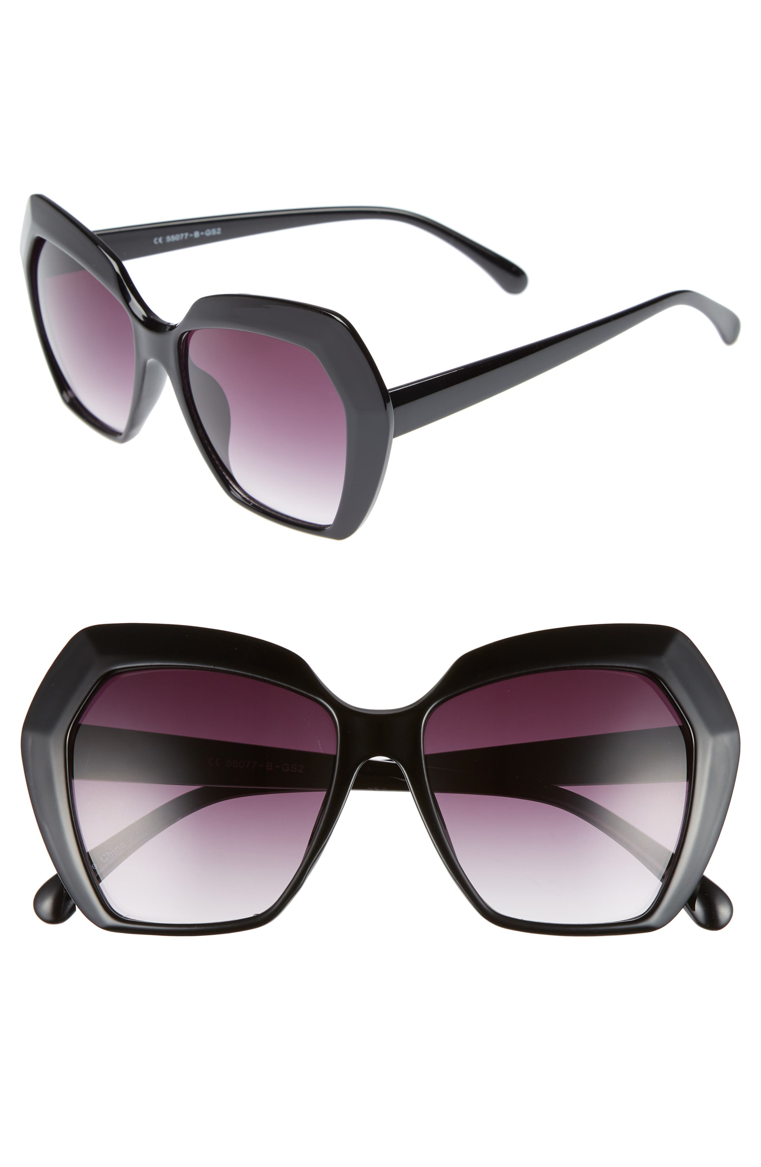 54mm Geometric Sunglasses,                         Main,                         color, BLACK