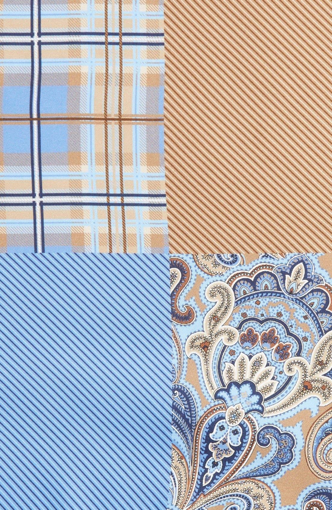 'Three Panel' Silk Pocket Square,                             Alternate thumbnail 3, color,                             BROWN/BLUE