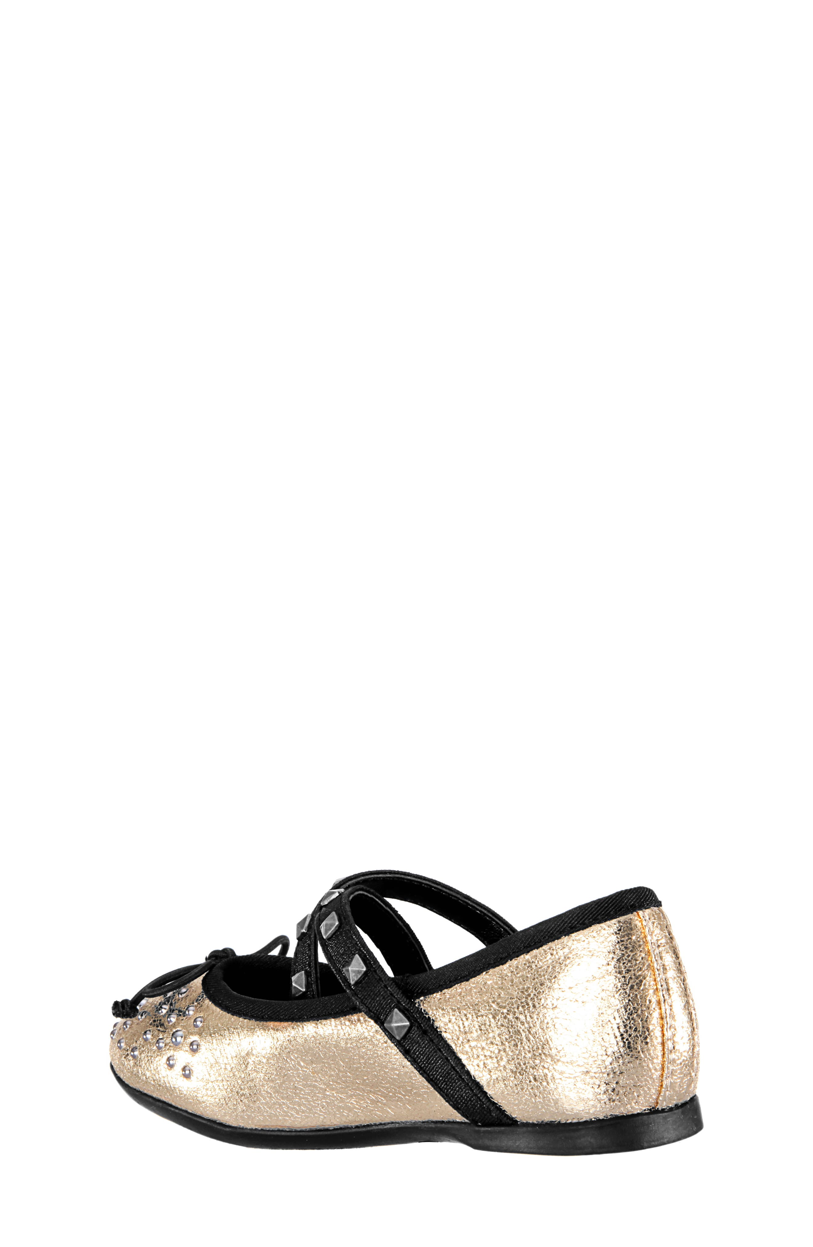 Averi Studded Ballet Flat,                             Alternate thumbnail 2, color,                             GOLD CRACKLE METALLIC