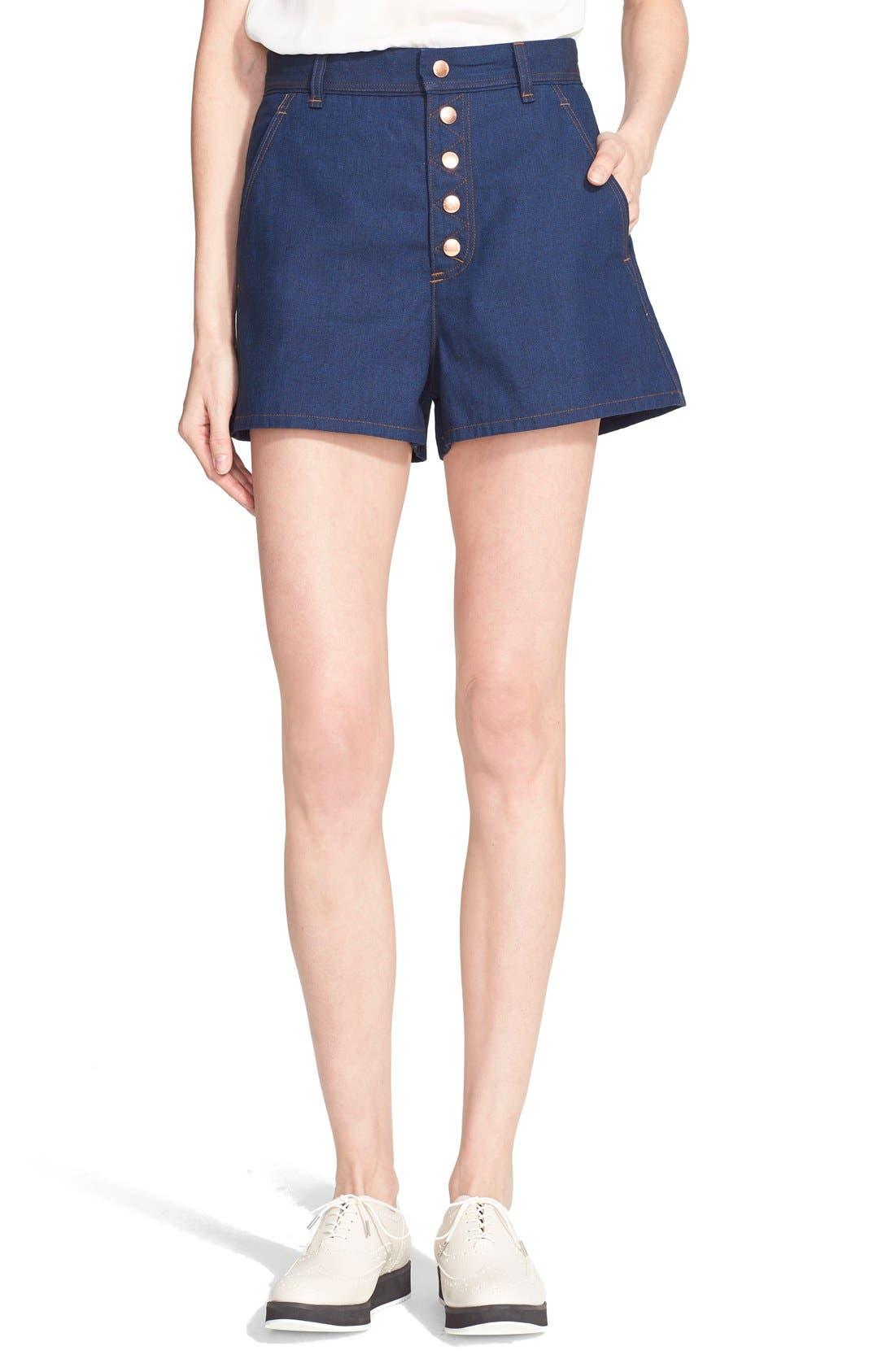 'Branson' High Waist Denim Shorts,                         Main,                         color, 417