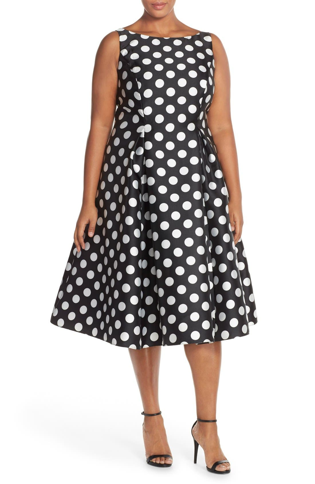 Sleeveless Mikado Fit & Flare Polka Dot Midi Dress,                         Main,                         color, 003