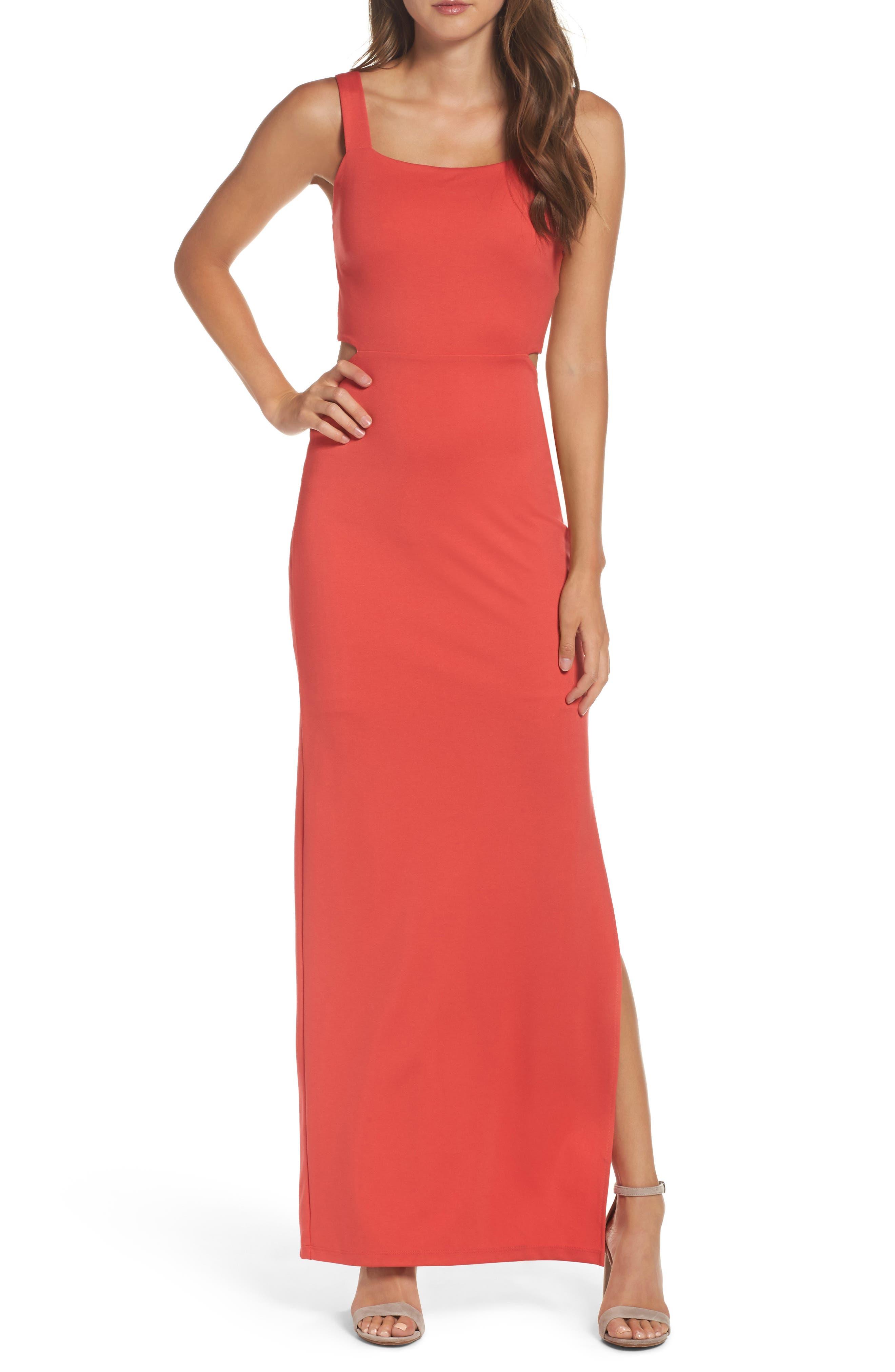 Maxi Dress,                         Main,                         color, CORAL