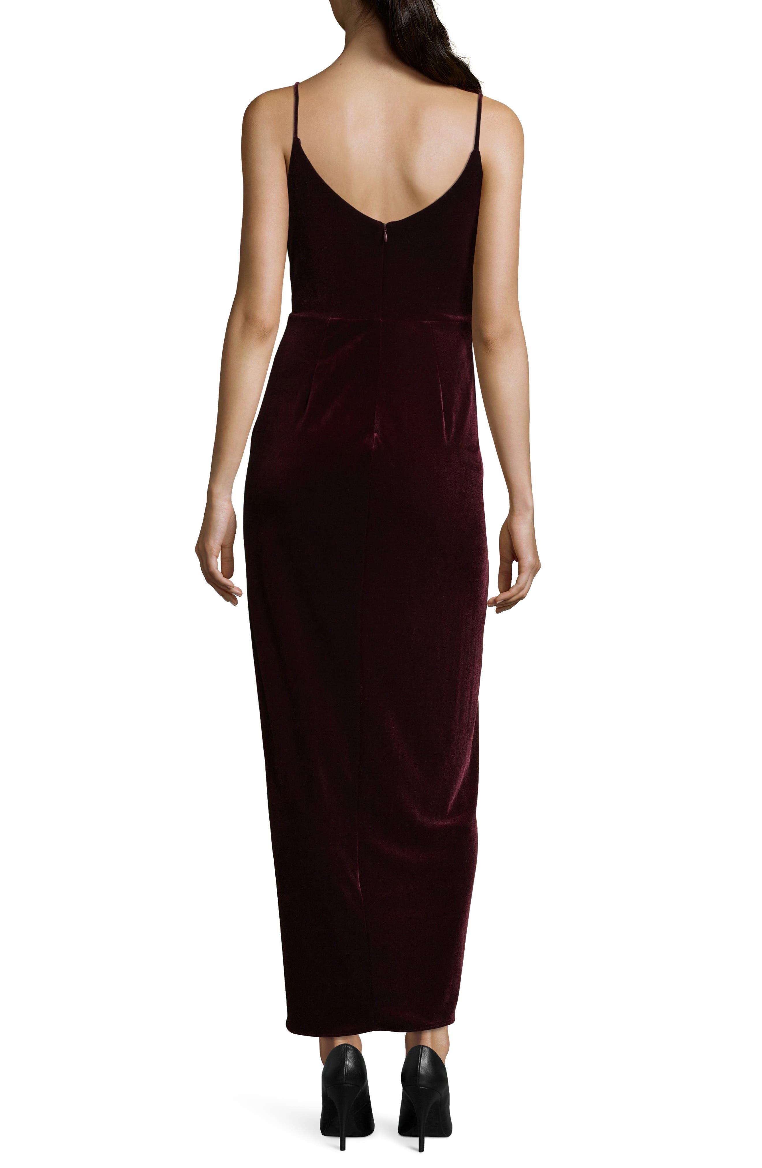 Velvet Tulip Hem Gown,                             Alternate thumbnail 2, color,                             BURGUNDY