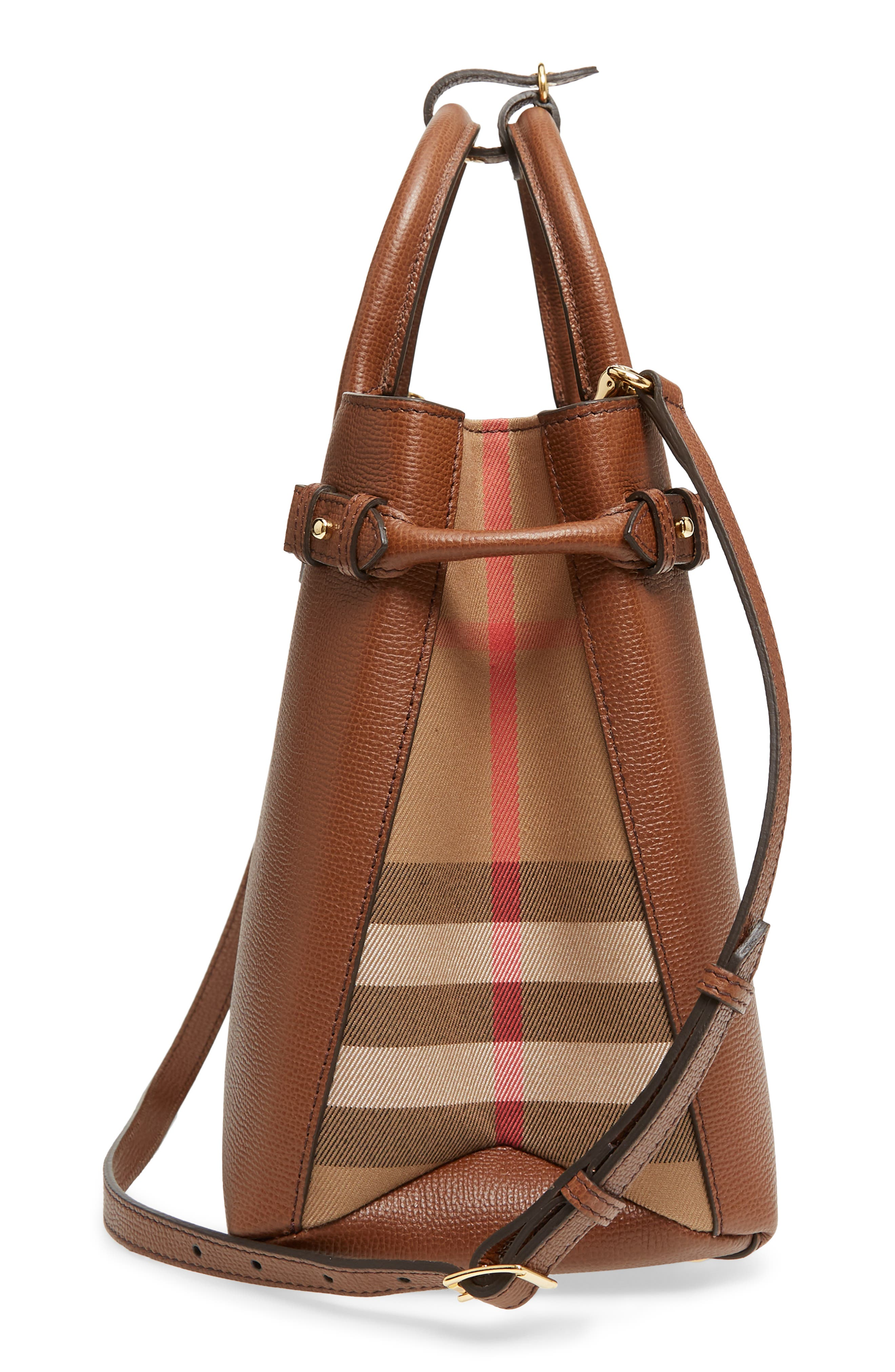 Medium Banner House Check Leather Tote,                             Alternate thumbnail 5, color,                             TAN