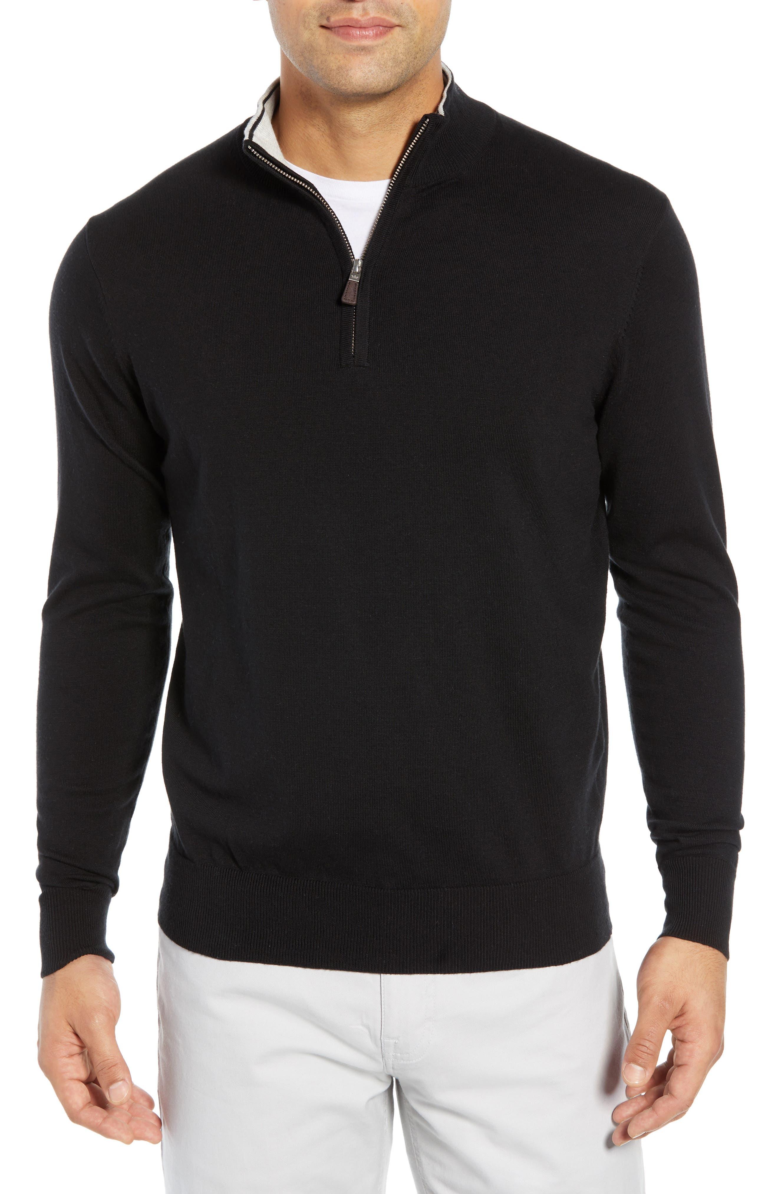 PETER MILLAR,                             Crown Quarter Zip Sweater,                             Main thumbnail 1, color,                             BLACK