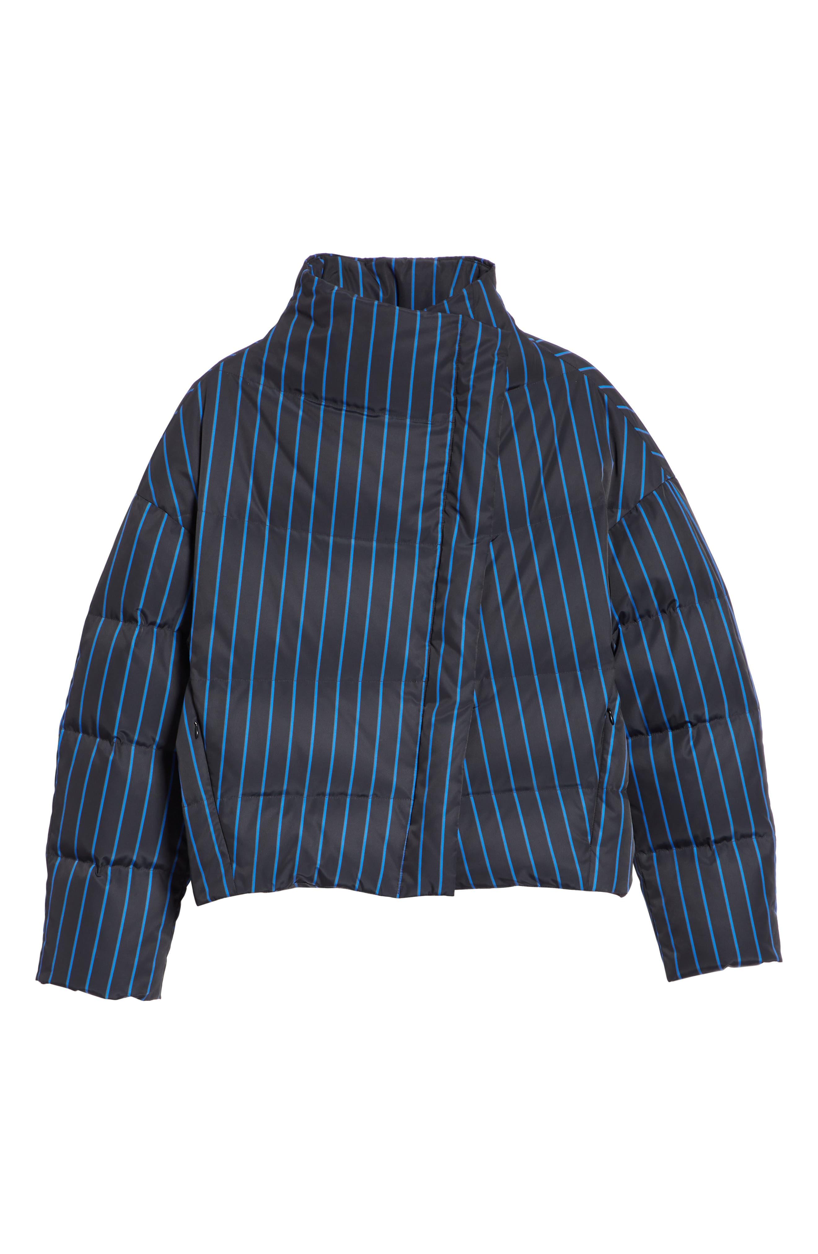 Asymmetrical Stripe Puffer Jacket,                             Alternate thumbnail 6, color,                             BLACK MULTI