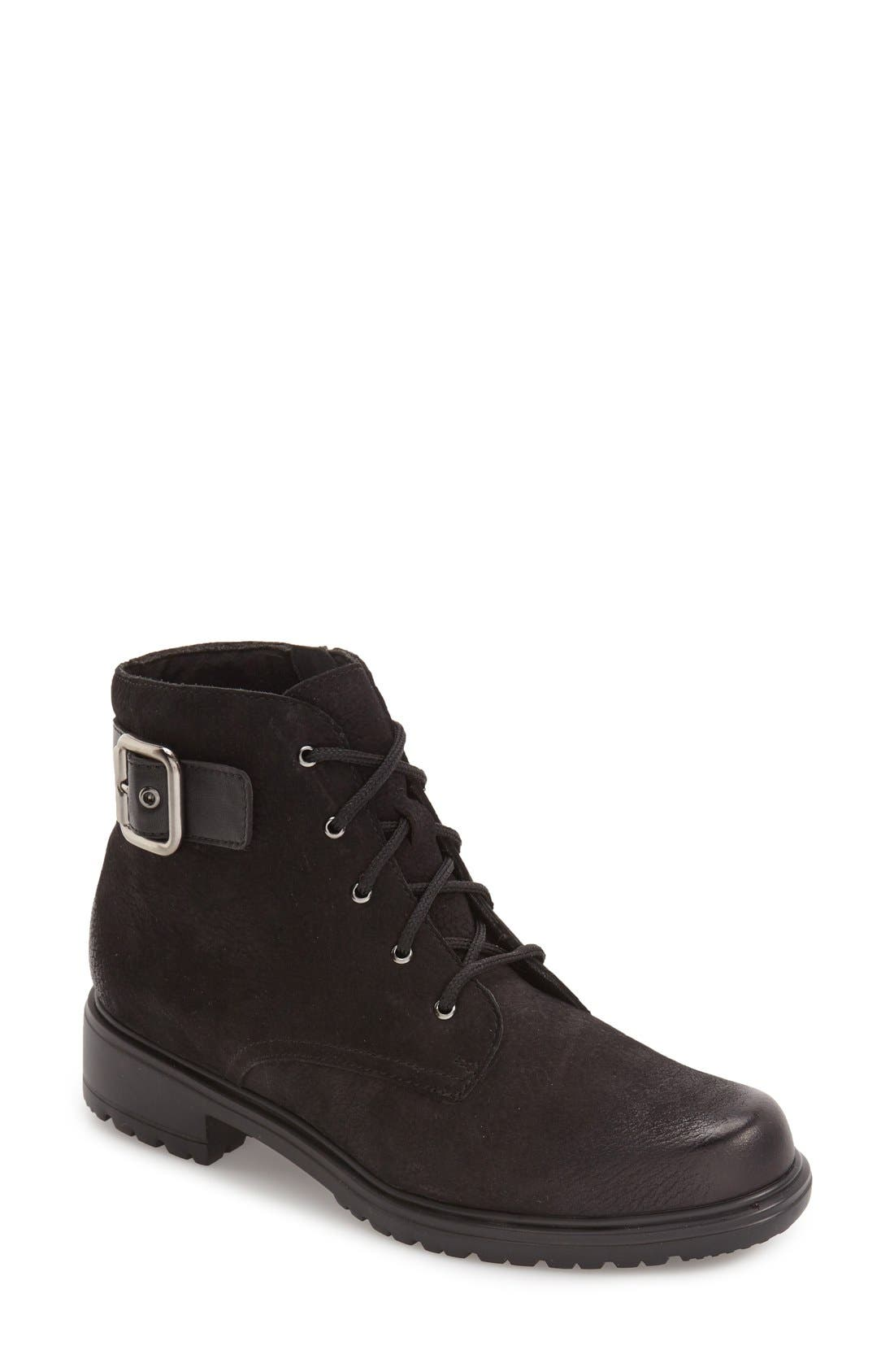 Bradley Water Resistant Boot,                             Main thumbnail 1, color,                             BLACK TUMBLED NUBUCK LEATHER