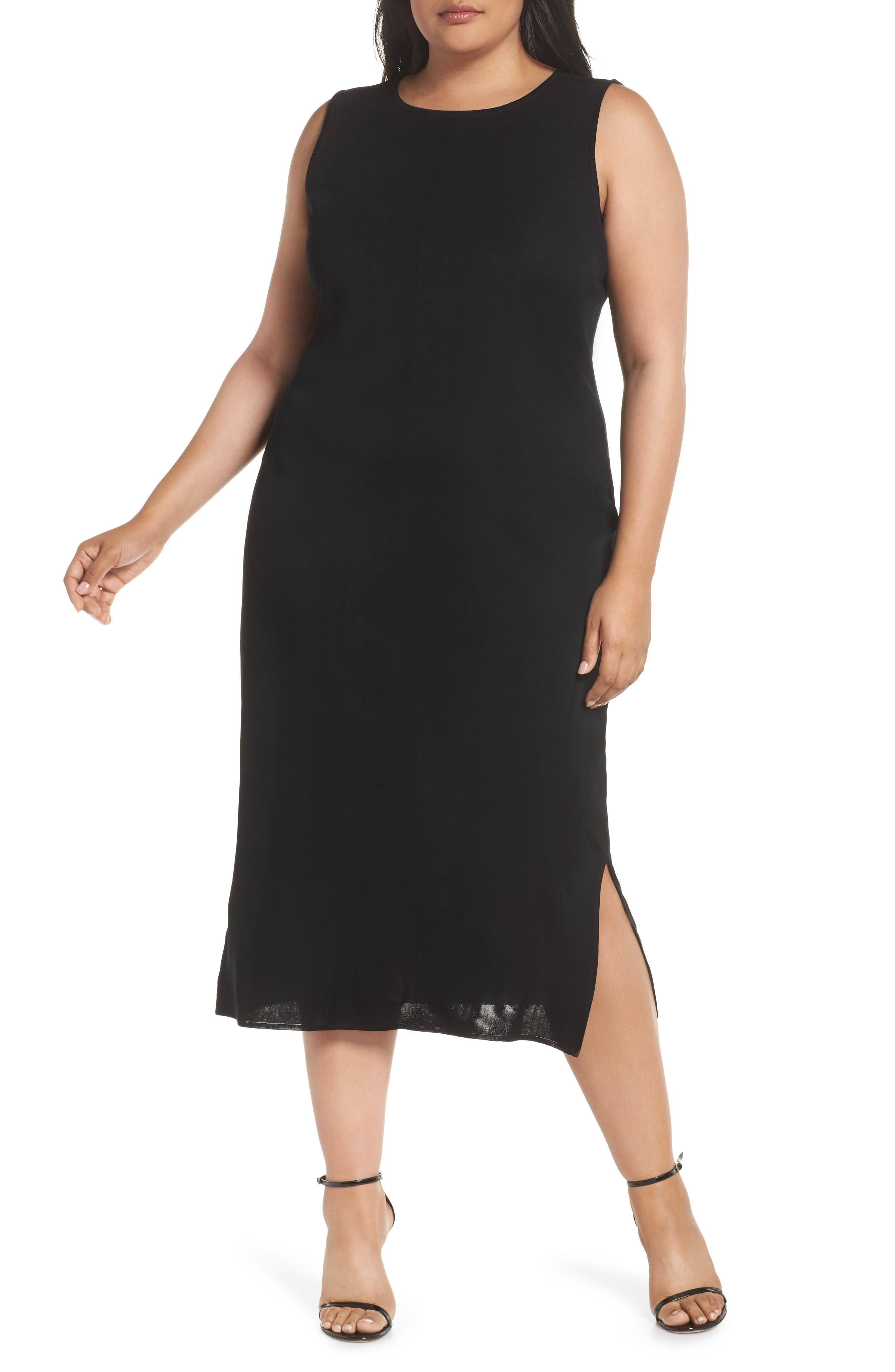 Plus Size Ming Wang Sleeveless Dress, Black