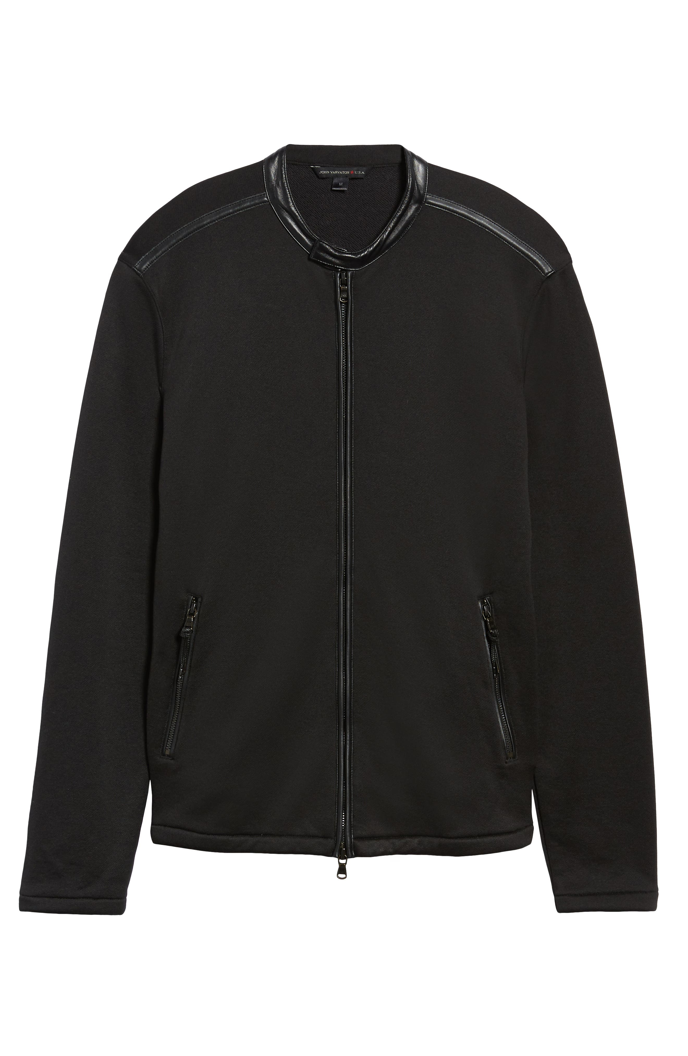 French Terry Zip Front Jacket,                             Alternate thumbnail 5, color,                             BLACK