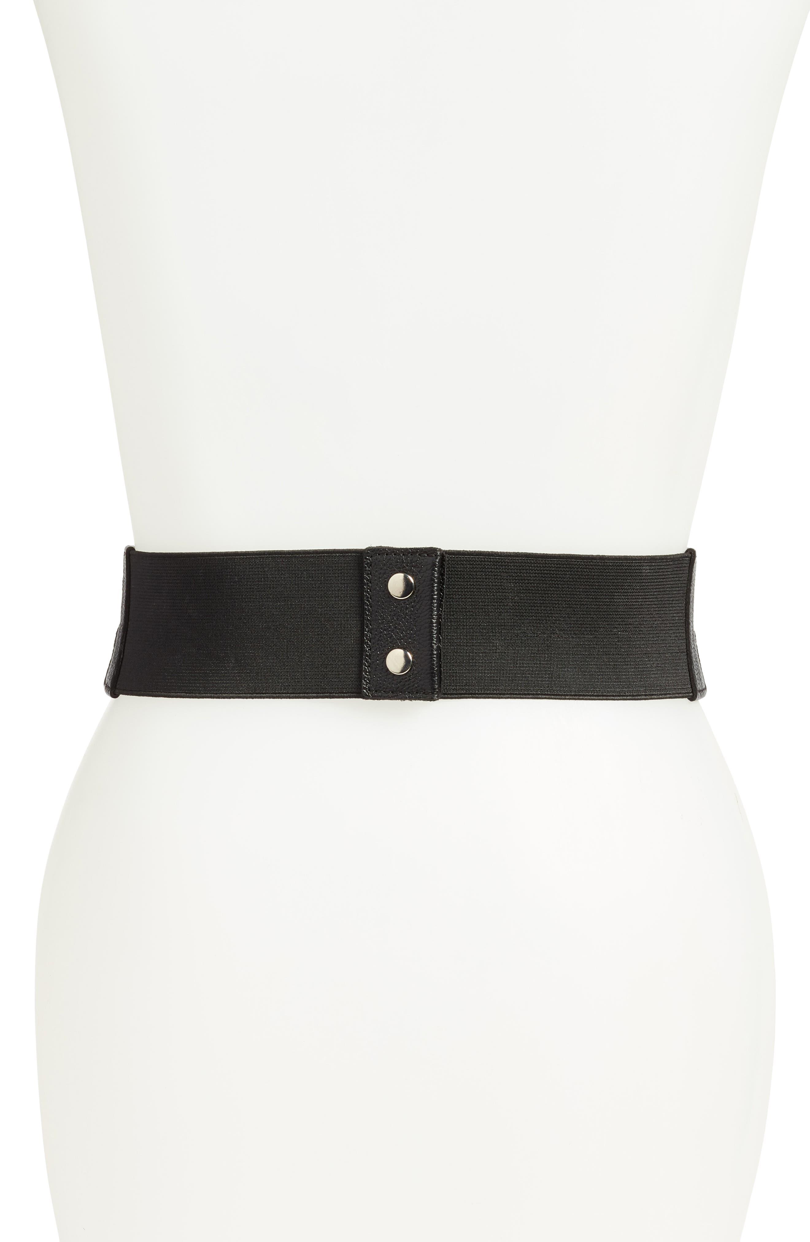 Double Wrap Leather Stretch Belt,                             Alternate thumbnail 2, color,                             001