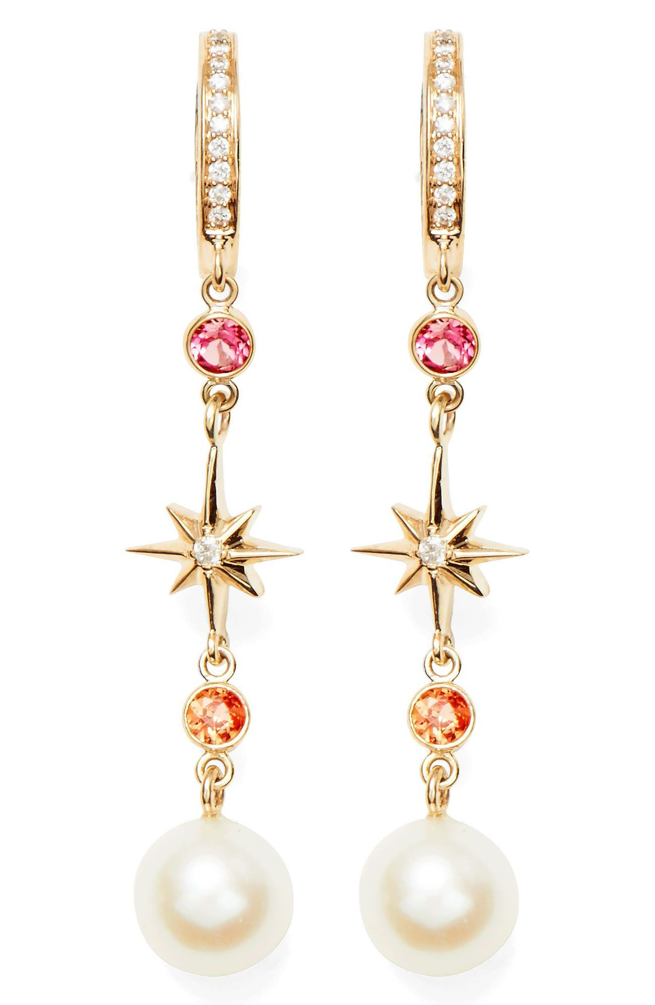 MARLO LAZ Elixir Linear Pearl, Diamond & Stone Drop Earrings, Main, color, YELLOW GOLD
