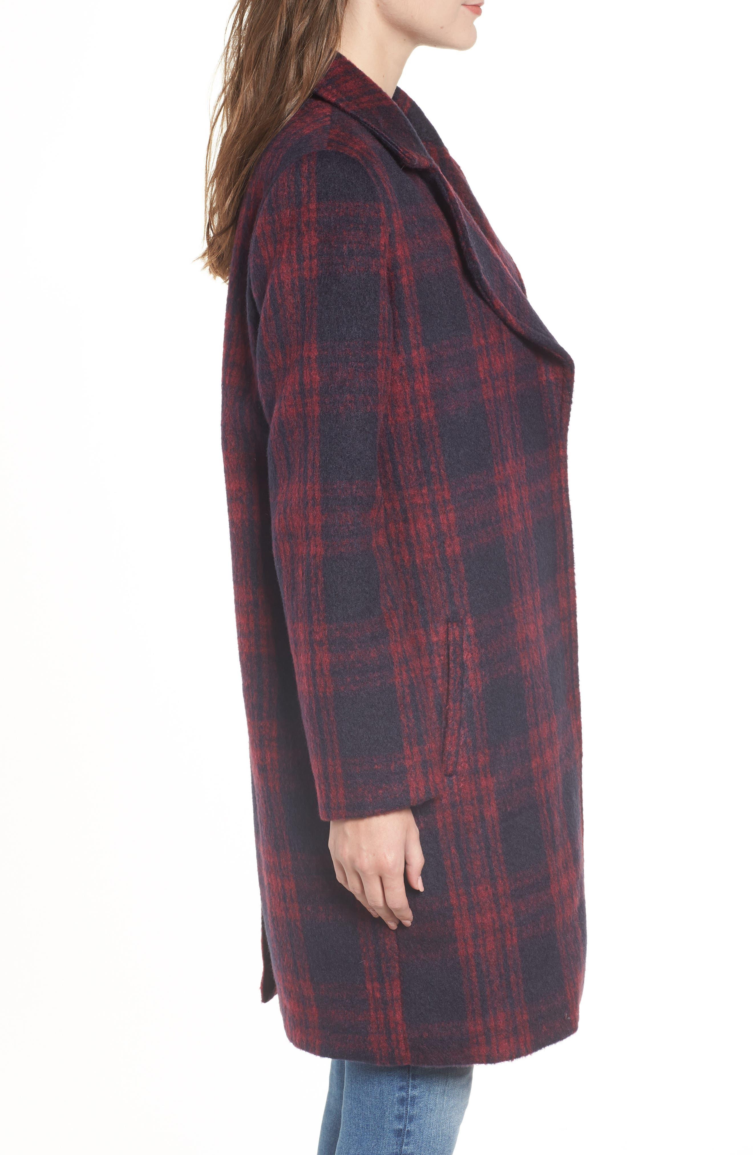 Brushed Plaid Coat,                             Alternate thumbnail 3, color,                             RED VELVET