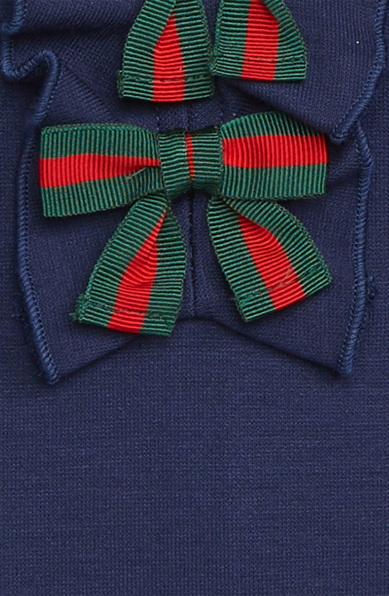 Ruffle & Bow Dress,                             Alternate thumbnail 3, color,                             COBALTO/ GREEN/ RED