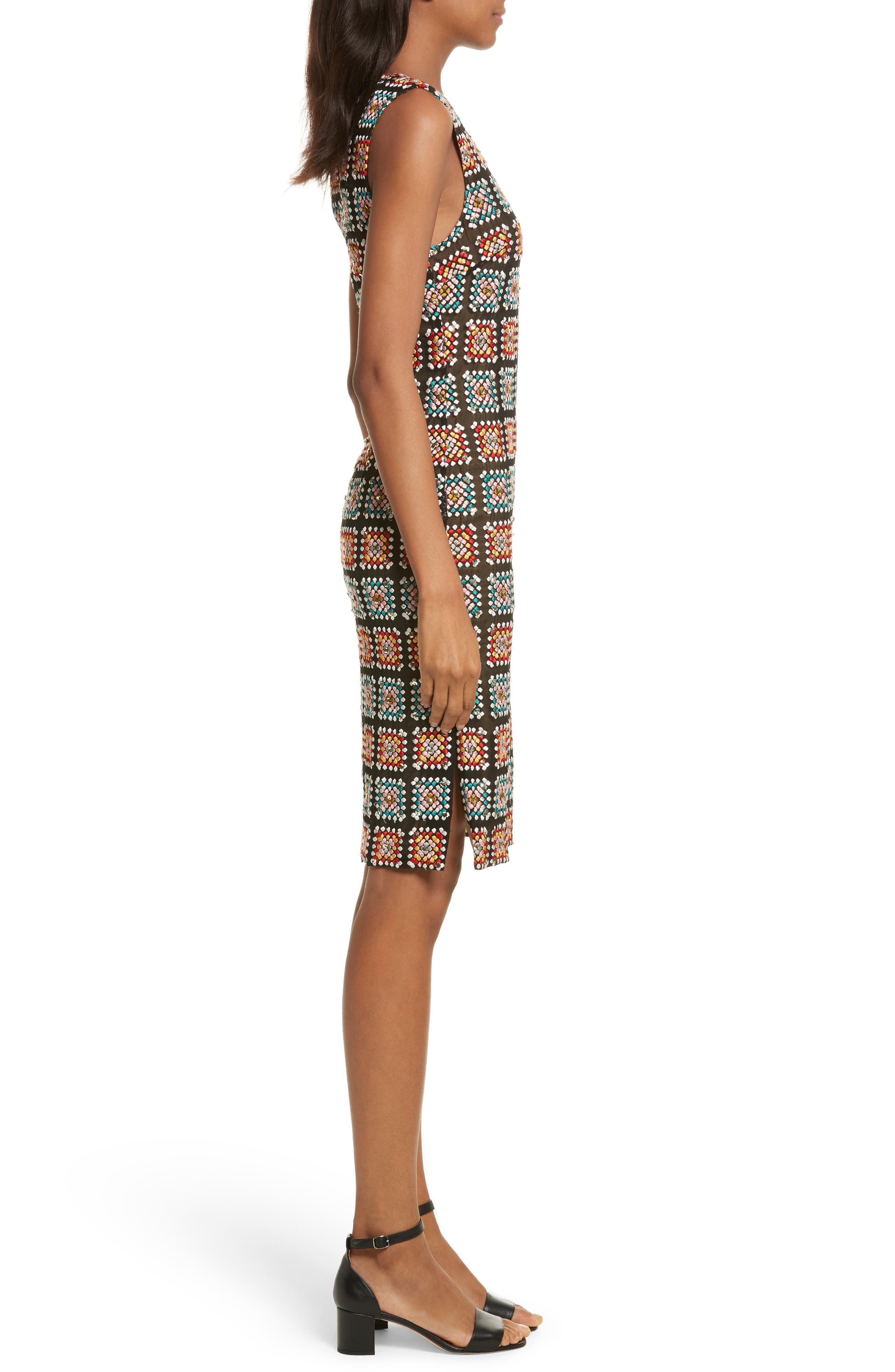 Embellished Georgette Sheath Dress,                             Alternate thumbnail 3, color,