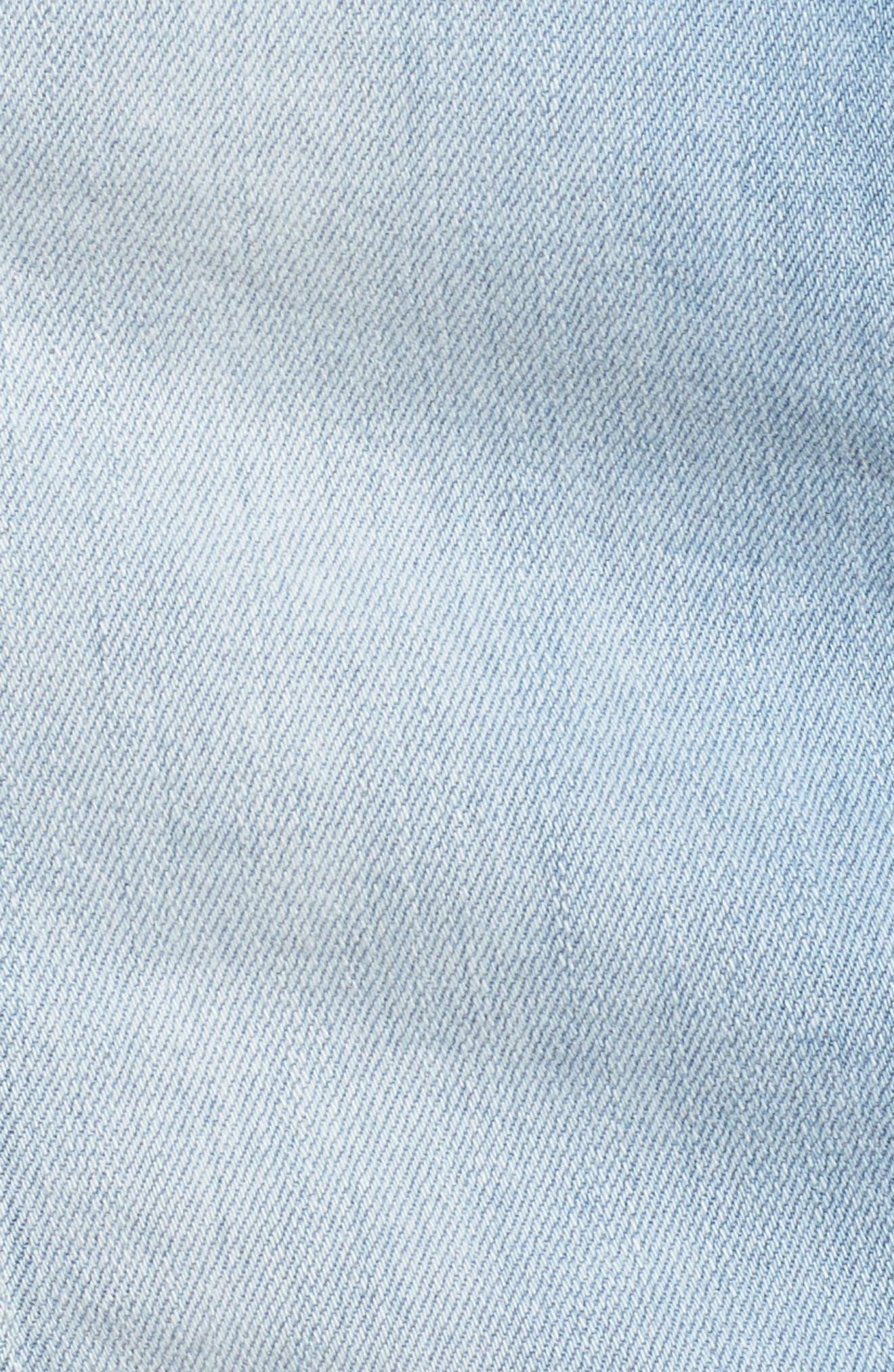 The Mini Distressed Seams Denim Miniskirt,                             Alternate thumbnail 6, color,                             401