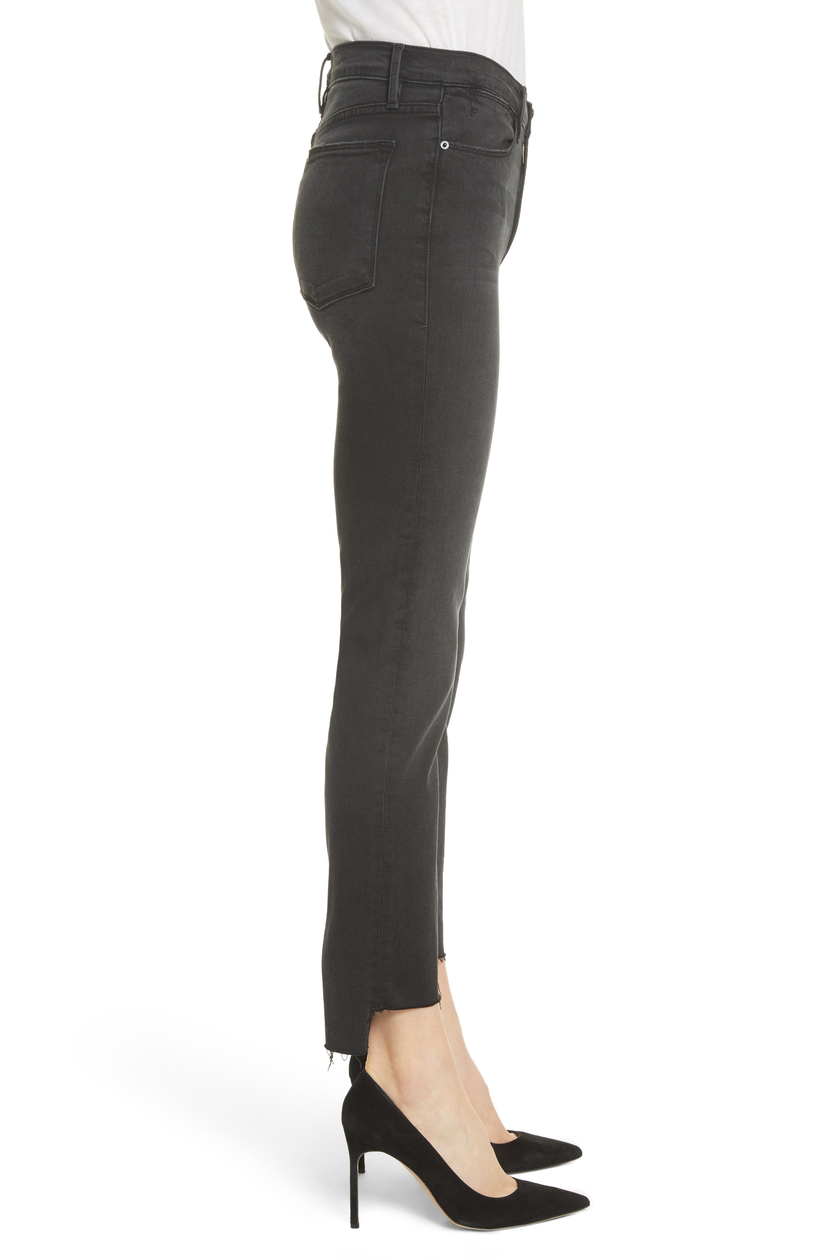 Le High Raw Stagger Straight Jeans,                             Alternate thumbnail 3, color,                             001