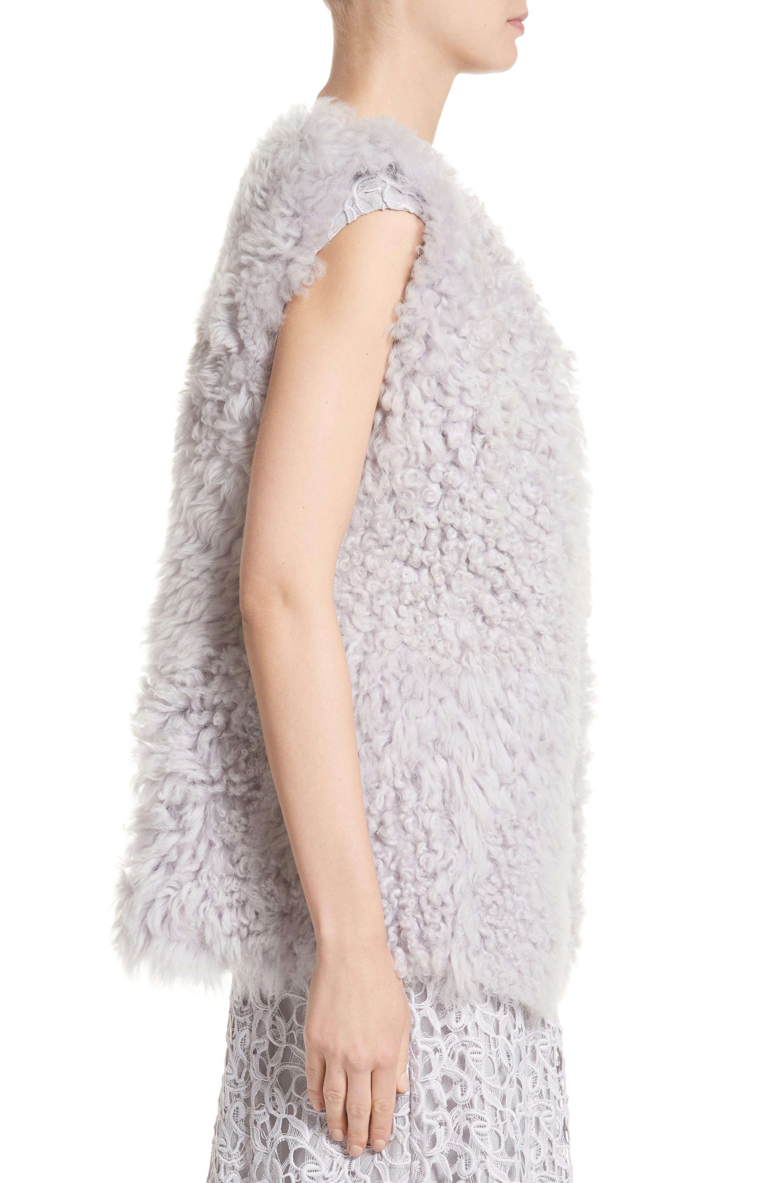 St John Collection Reversible Genuine Curly Lamb Fur Vest,                             Alternate thumbnail 4, color,                             500
