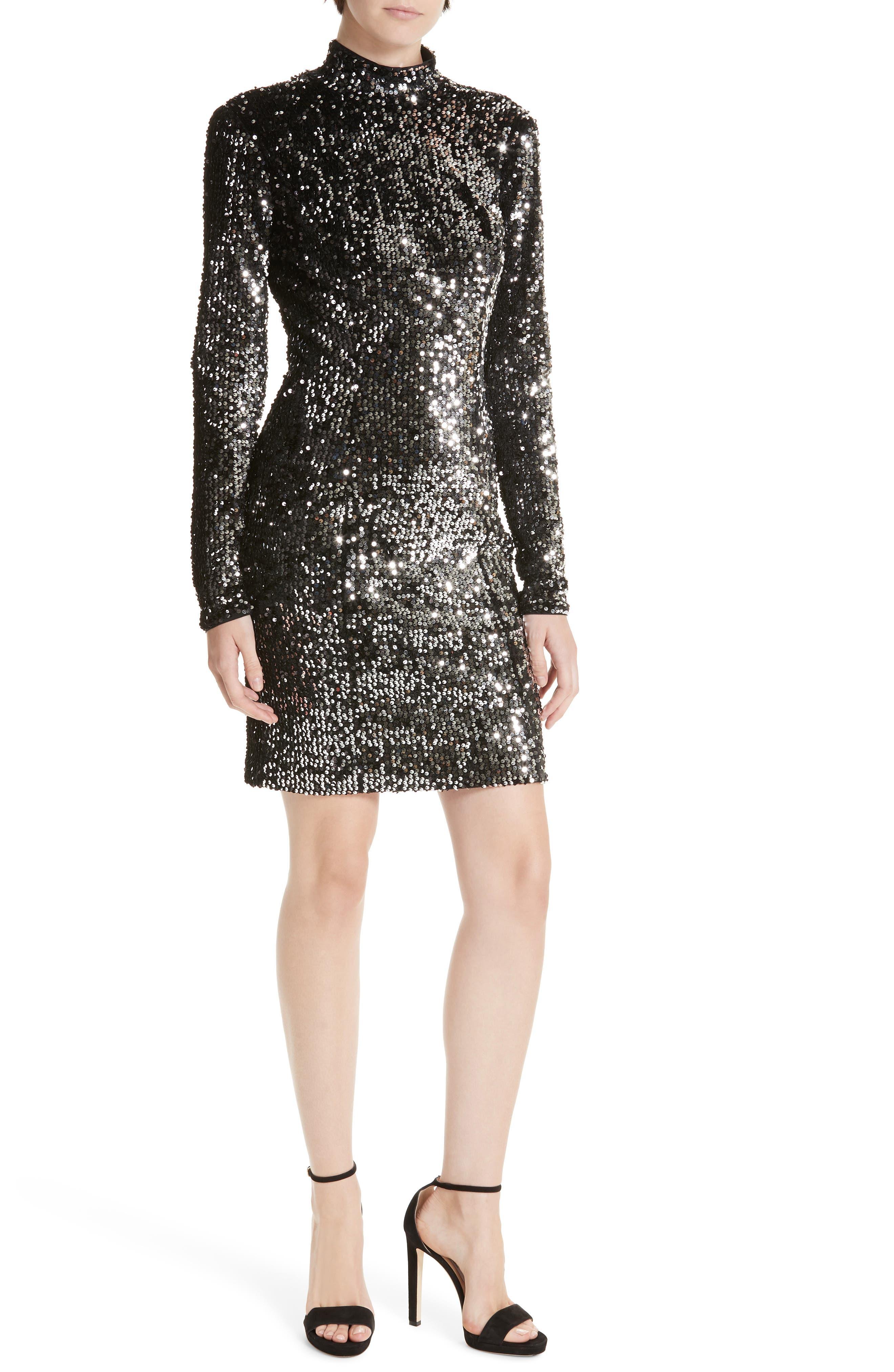 Milly Sequin Velvet Turtleneck Mini Dress, Metallic