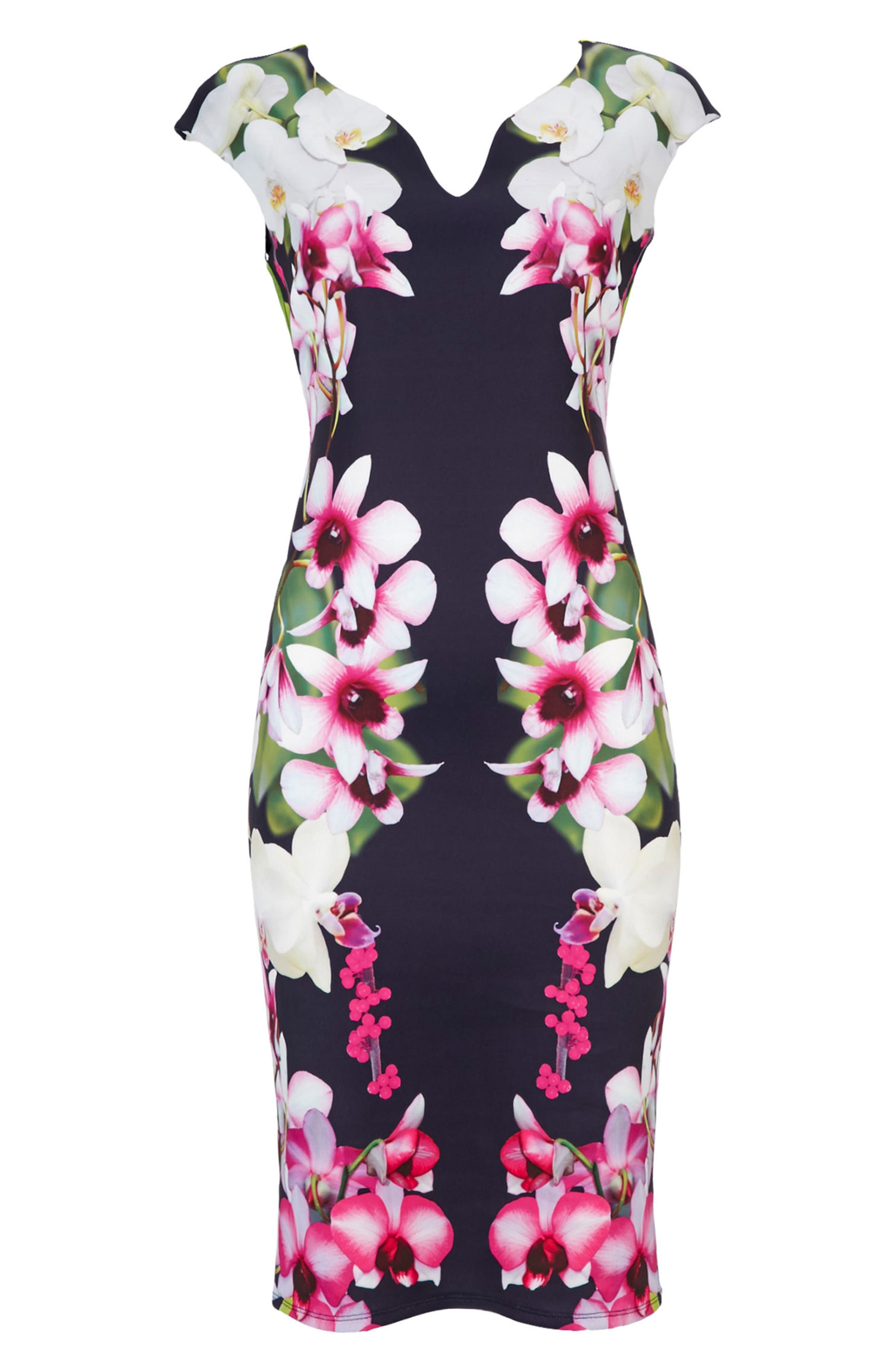 Summer Orchid Scuba Sheath Dress,                             Alternate thumbnail 4, color,                             400