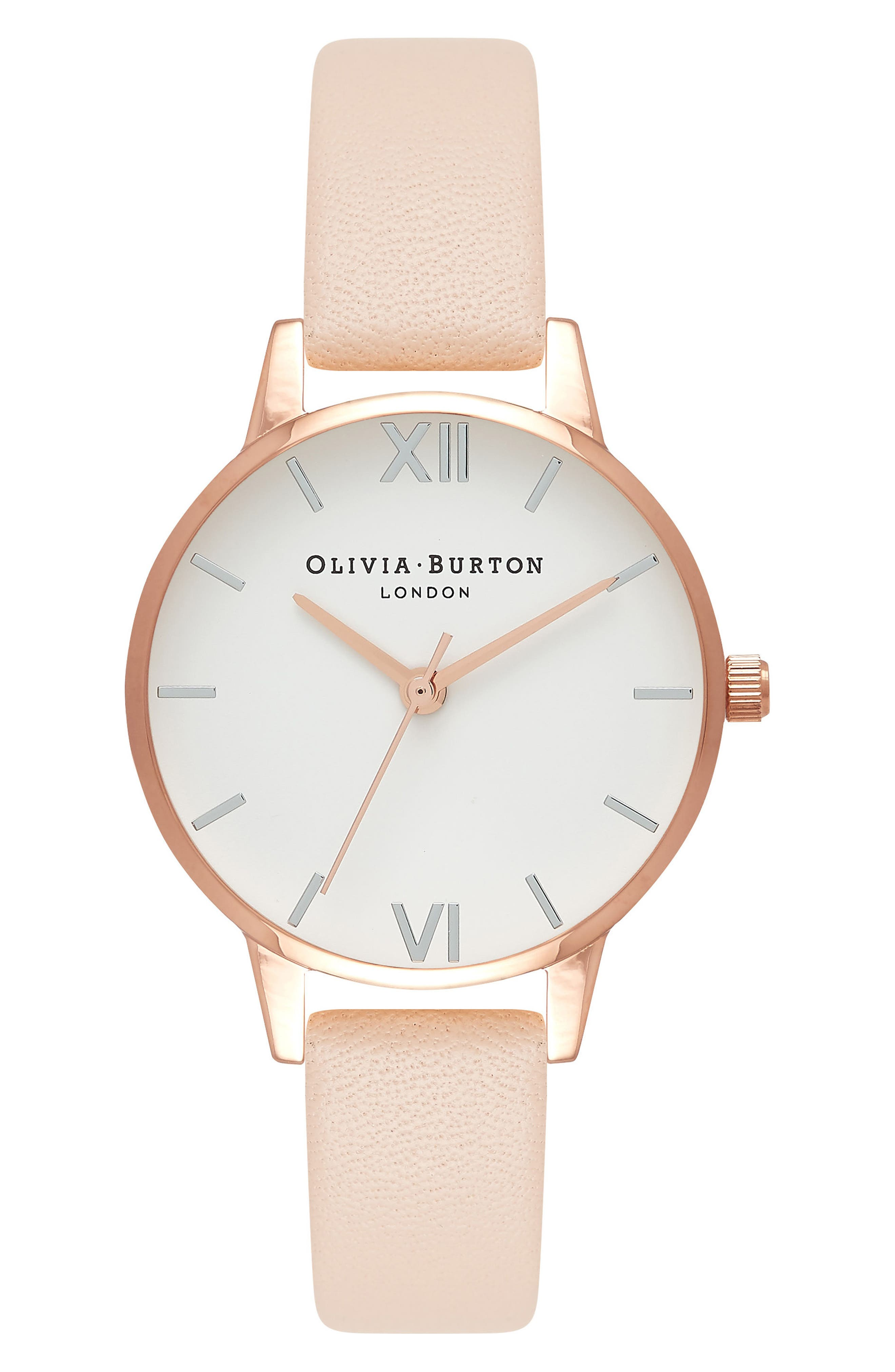 OLIVIA BURTON,                             Midi Dial Leather Strap Watch, 30mm,                             Main thumbnail 1, color,                             NUDE PEACH/ WHITE/ ROSE GOLD