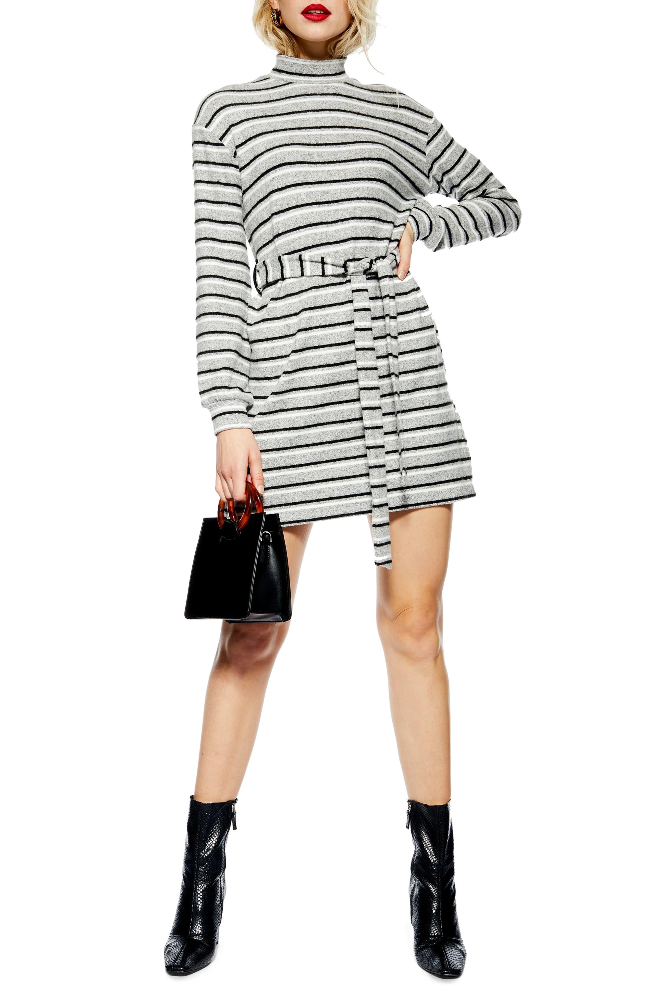 Topshop Stripe Belt Minidress, US (fits like 10-12) - Grey
