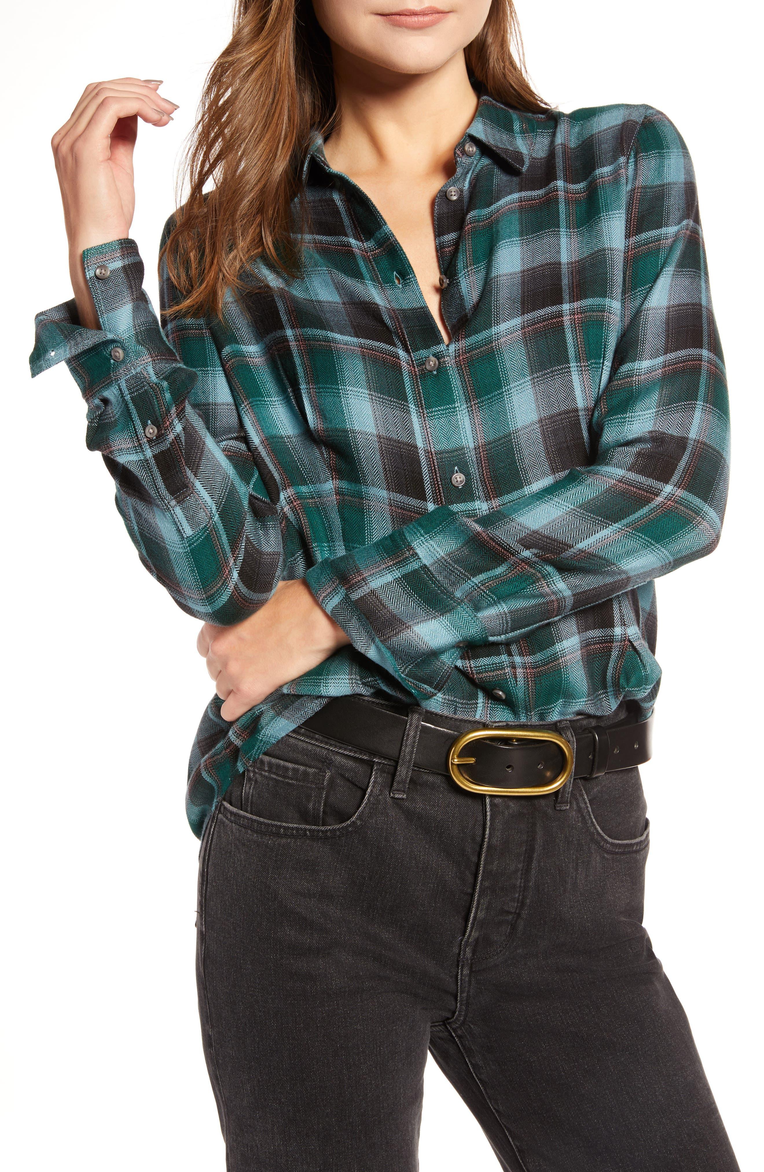 Plaid Corset Shirt,                         Main,                         color, BLUE SMOKE BLANKET CHECK