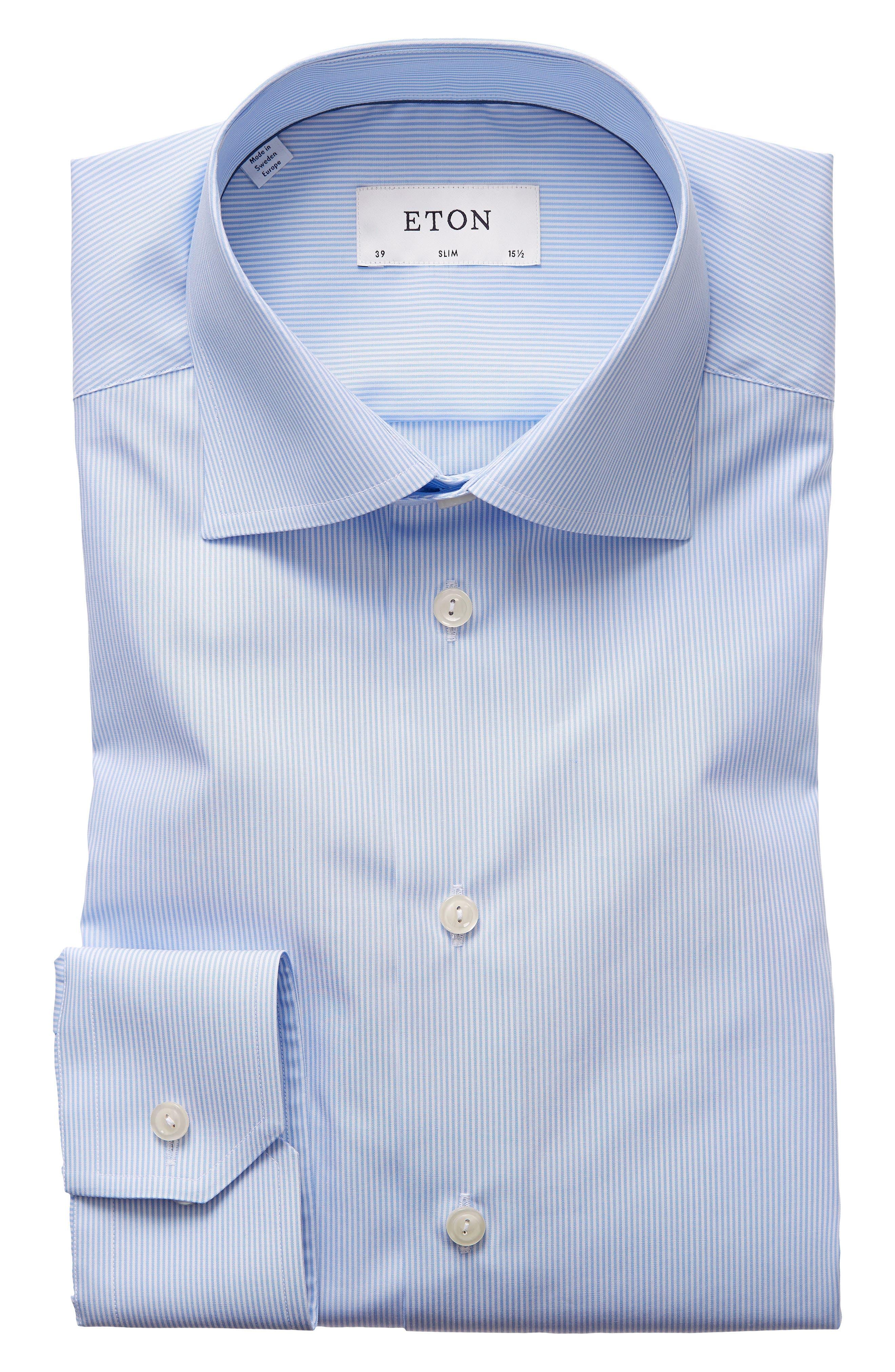 Extra Slim Fit Stripe Dress Shirt,                             Main thumbnail 1, color,                             LIGHT BLUE/ WHITE