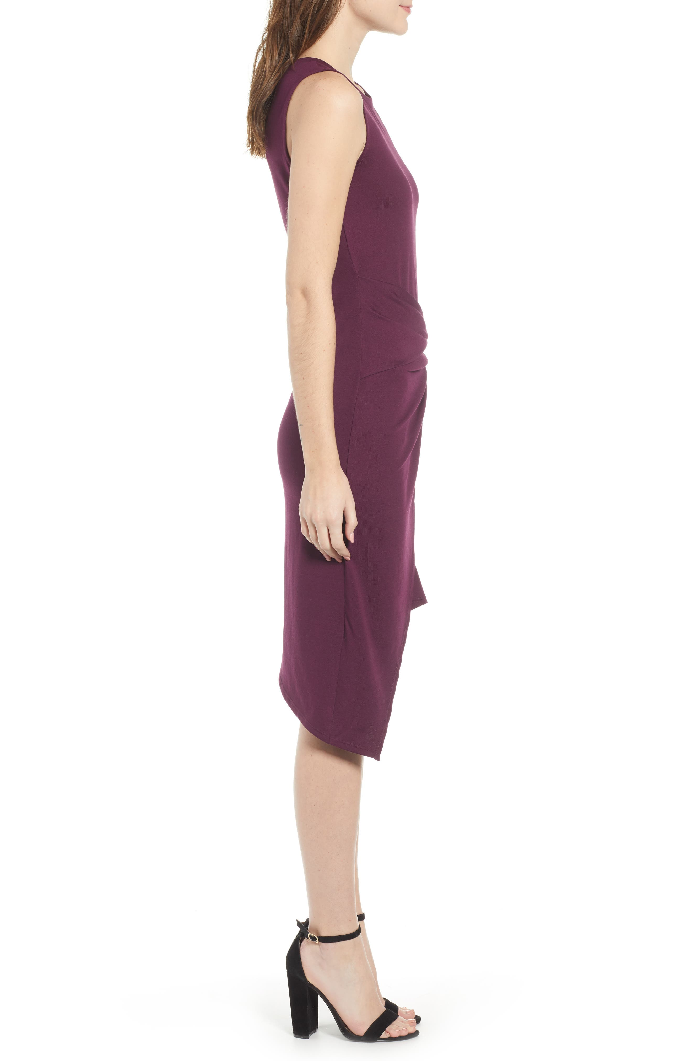 Twist Front Dress,                             Alternate thumbnail 3, color,                             PURPLE POTENT