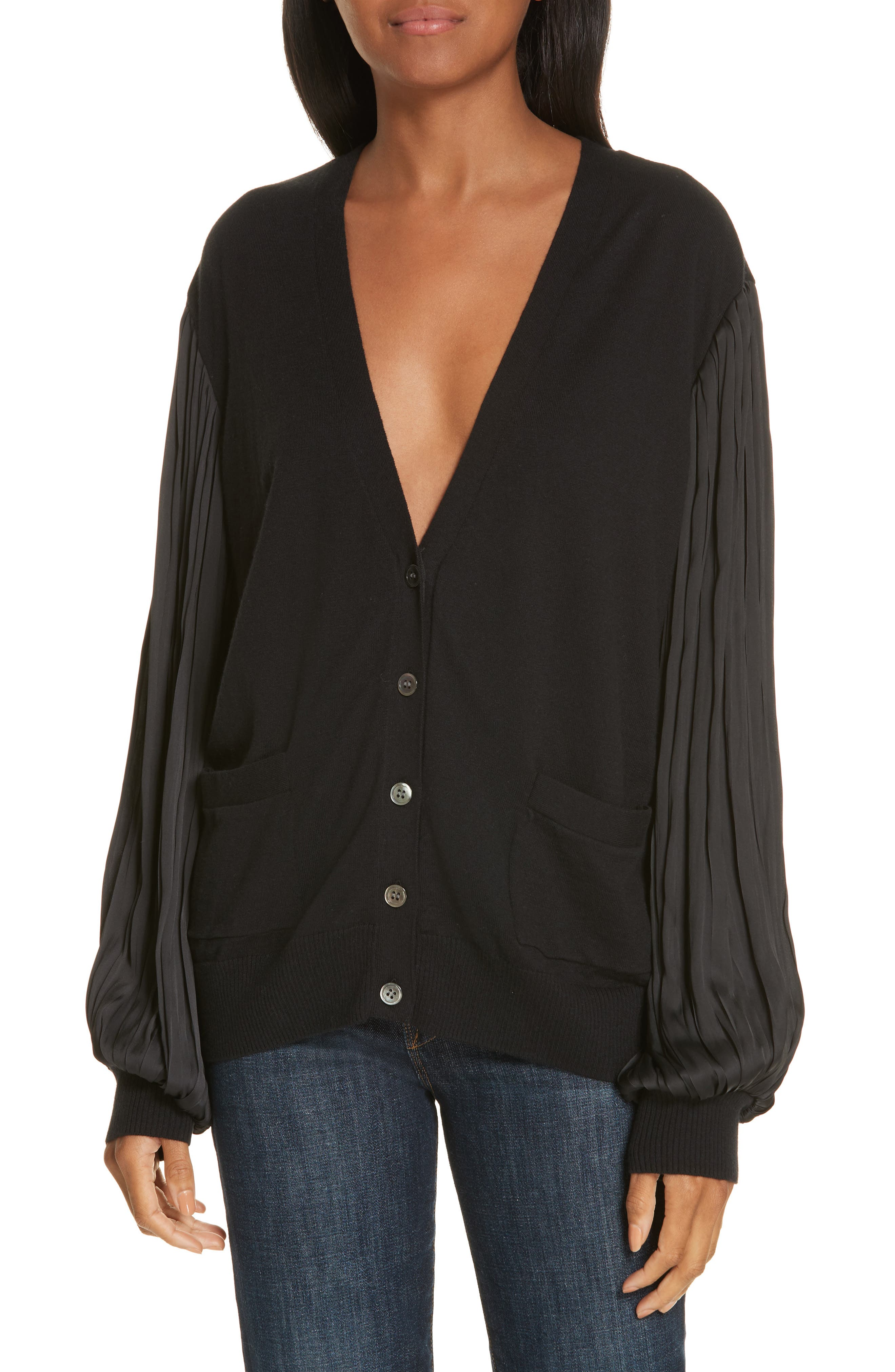 Pleated Balloon Sleeve Cotton Cashmere Cardigan,                             Main thumbnail 1, color,                             BLACK