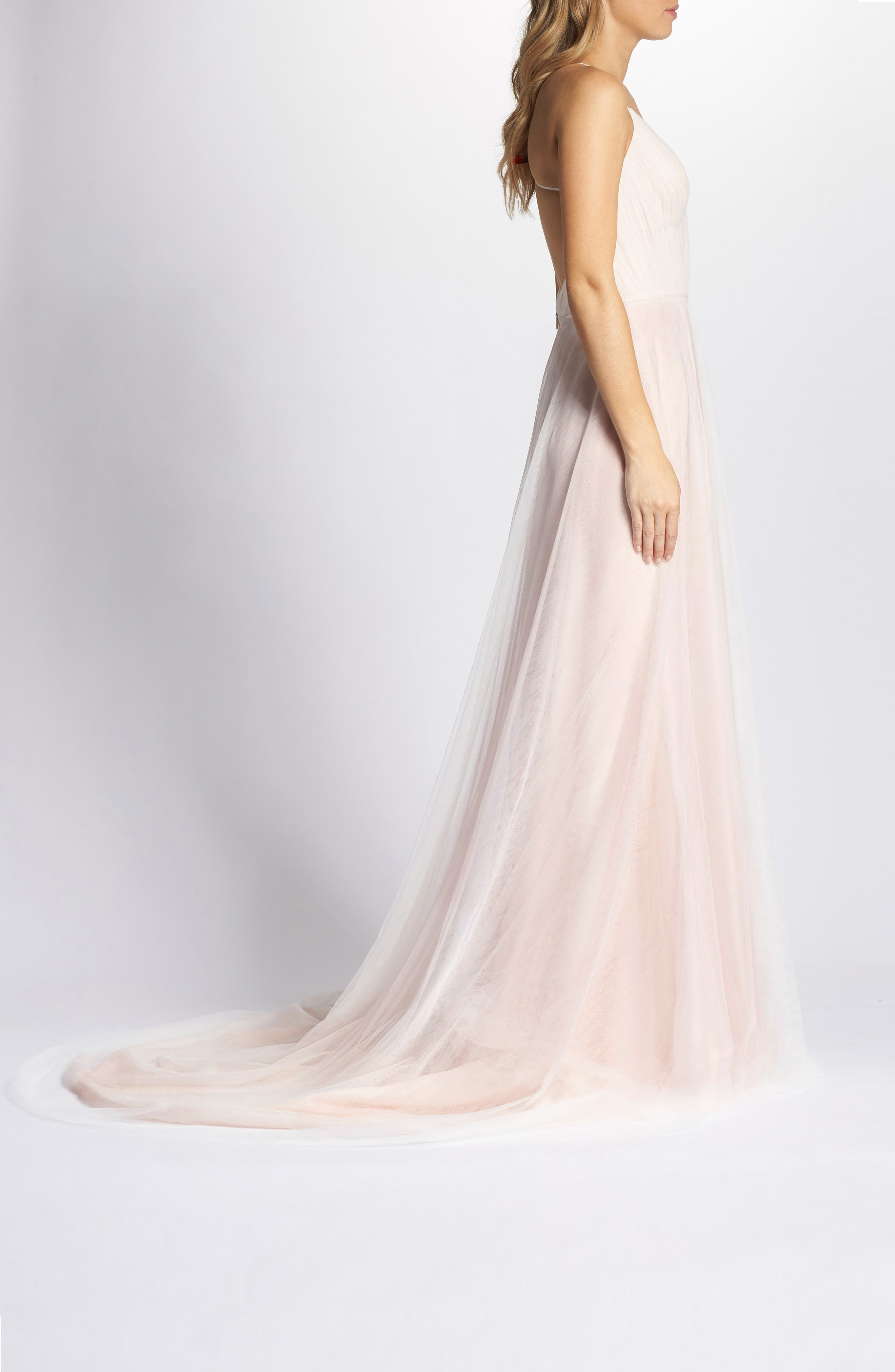 Plunging A-Line Gown,                             Alternate thumbnail 3, color,                             IVORY/TEA ROSE