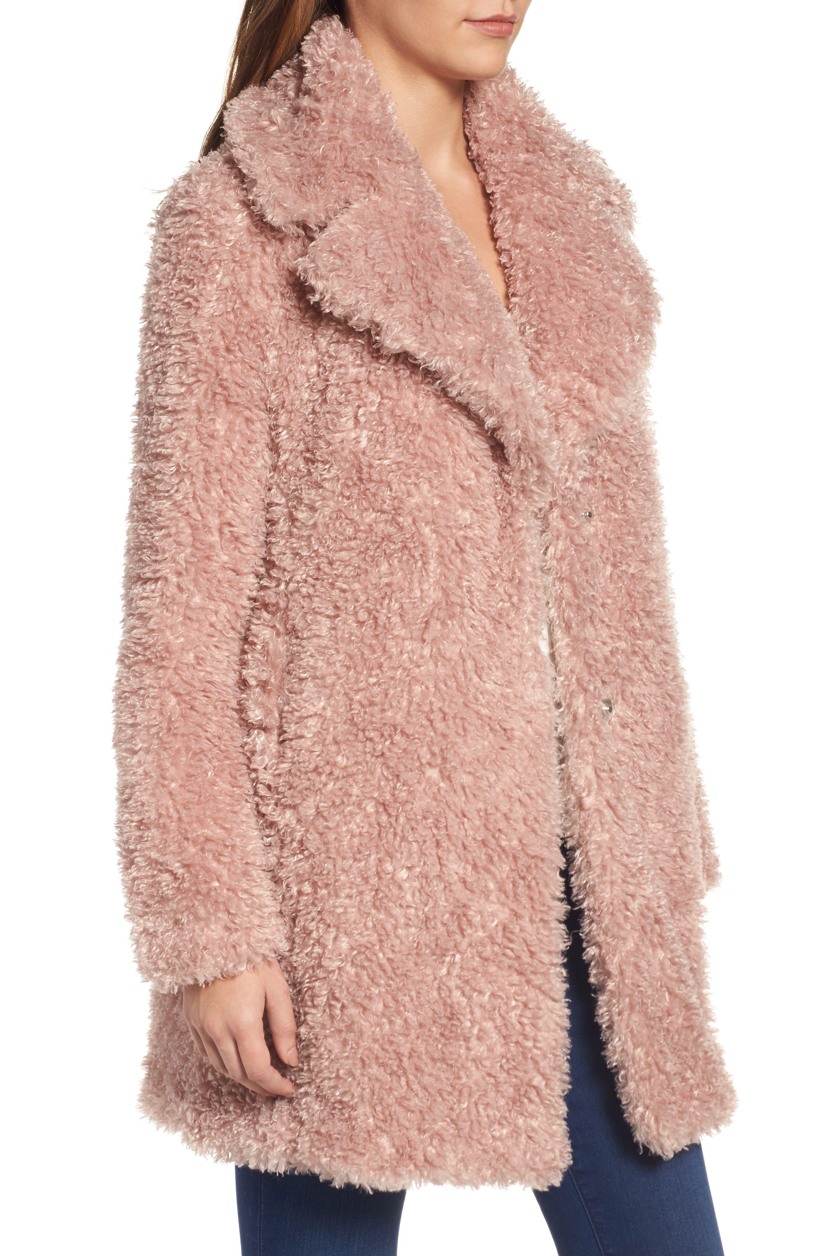 'Teddy Bear' Notch Collar Reversible Faux Fur Coat,                             Alternate thumbnail 14, color,