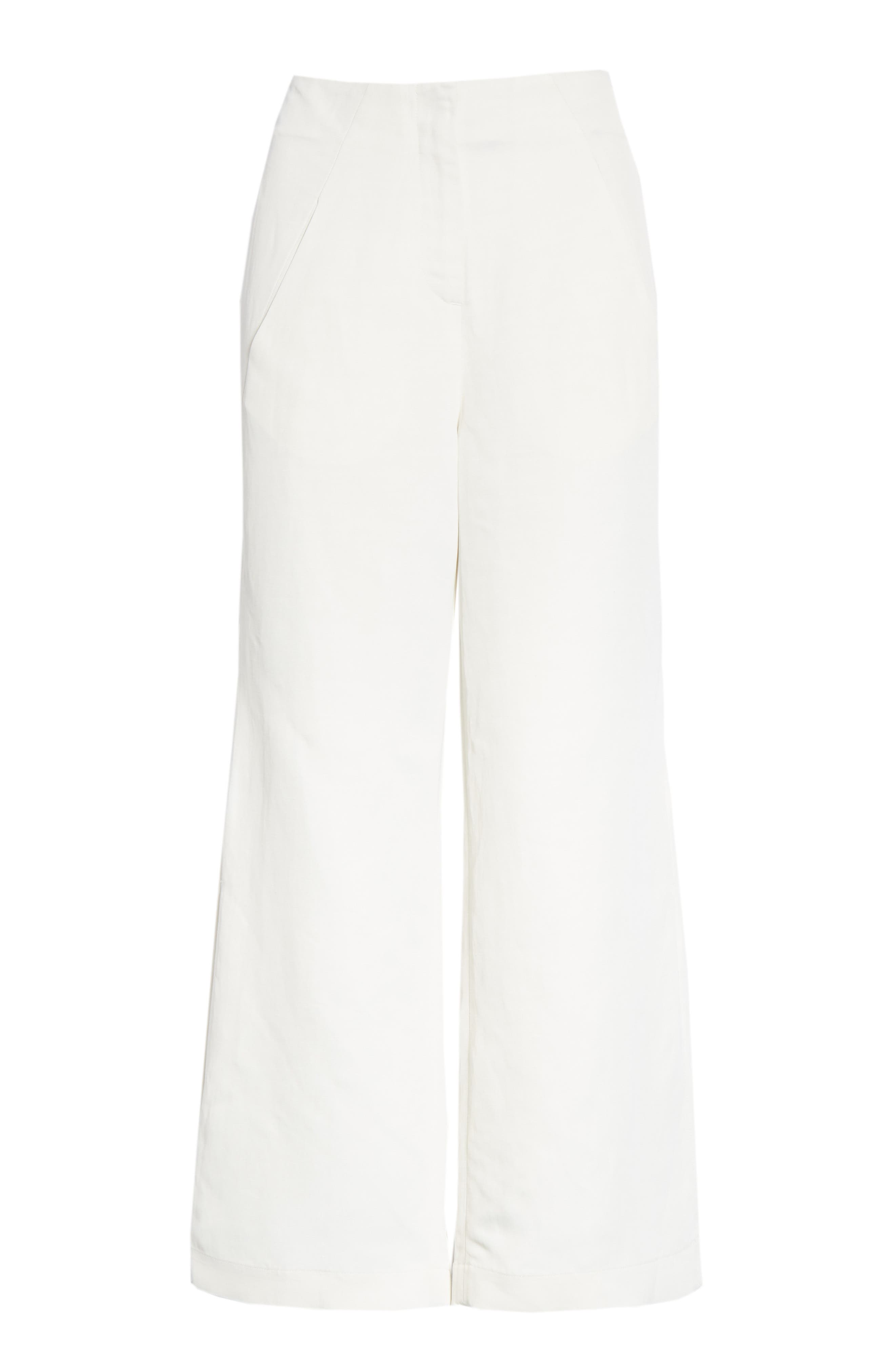 Tin Side Slit Crop Pants,                             Alternate thumbnail 6, color,                             WHITE PEPPER