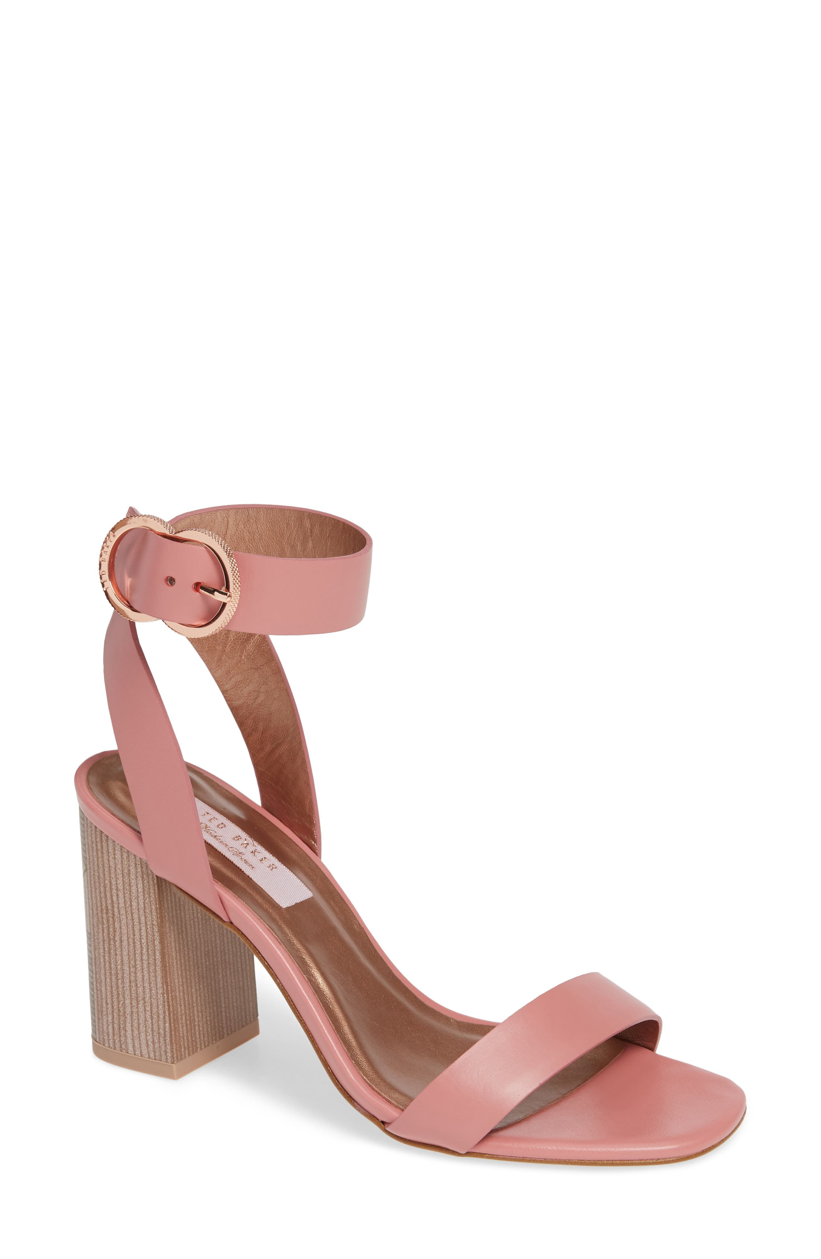 Vallama Block Heel Sandal,                             Main thumbnail 1, color,                             PINK LEATHER