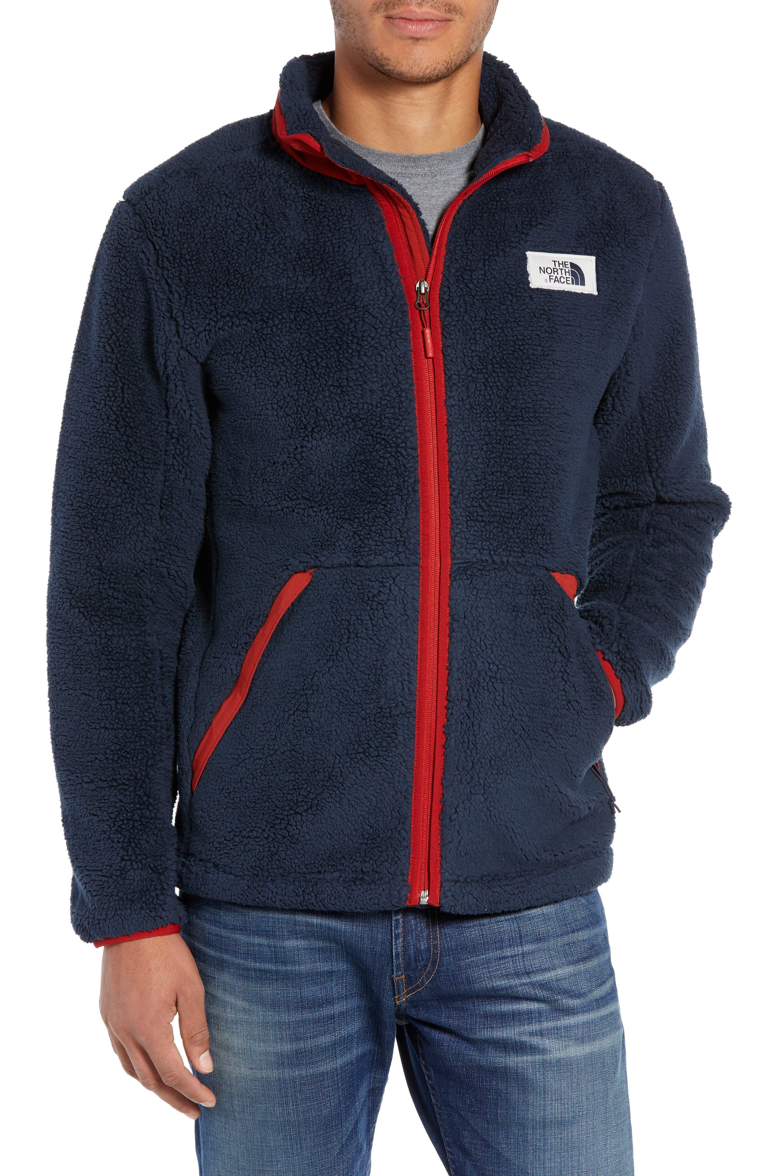 THE NORTH FACE Campshire Zip Fleece Jacket in Urban Navy/ Caldera Red