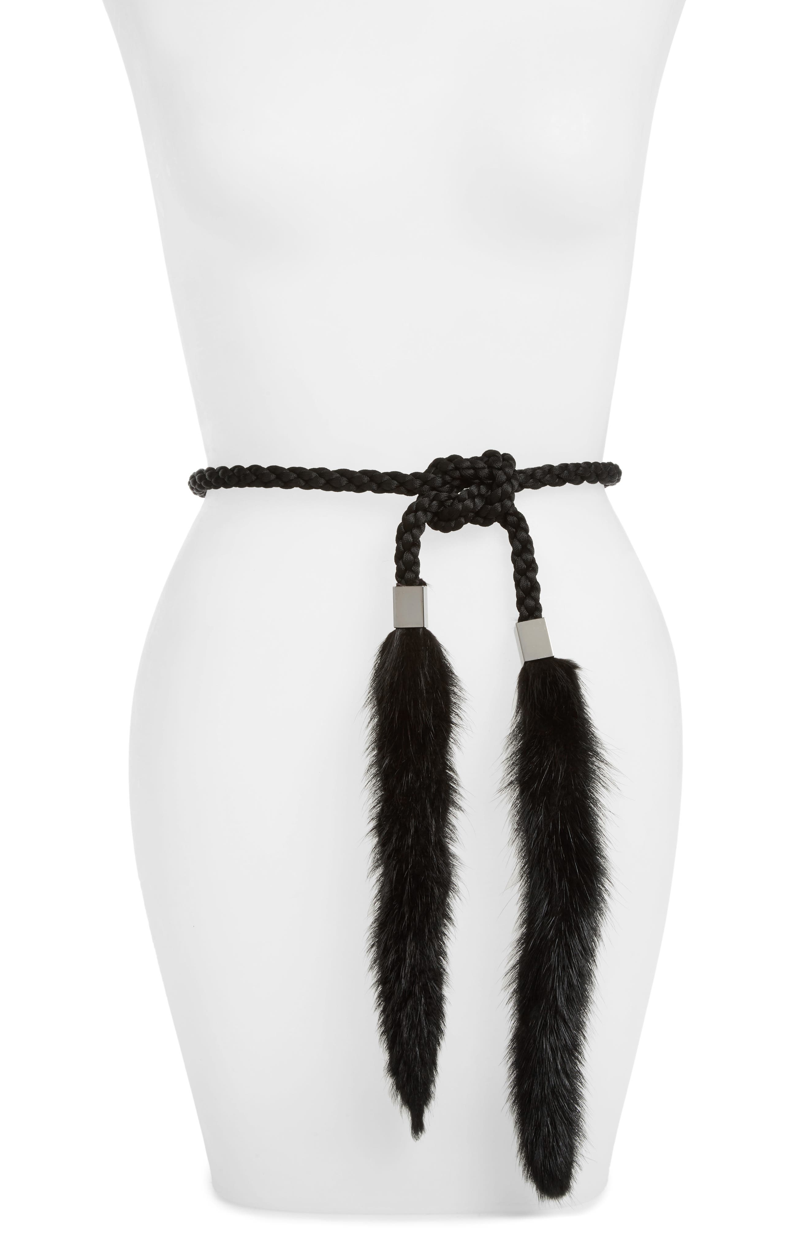 Gloriana Genuine Mink Tassel Belt,                             Main thumbnail 1, color,                             001