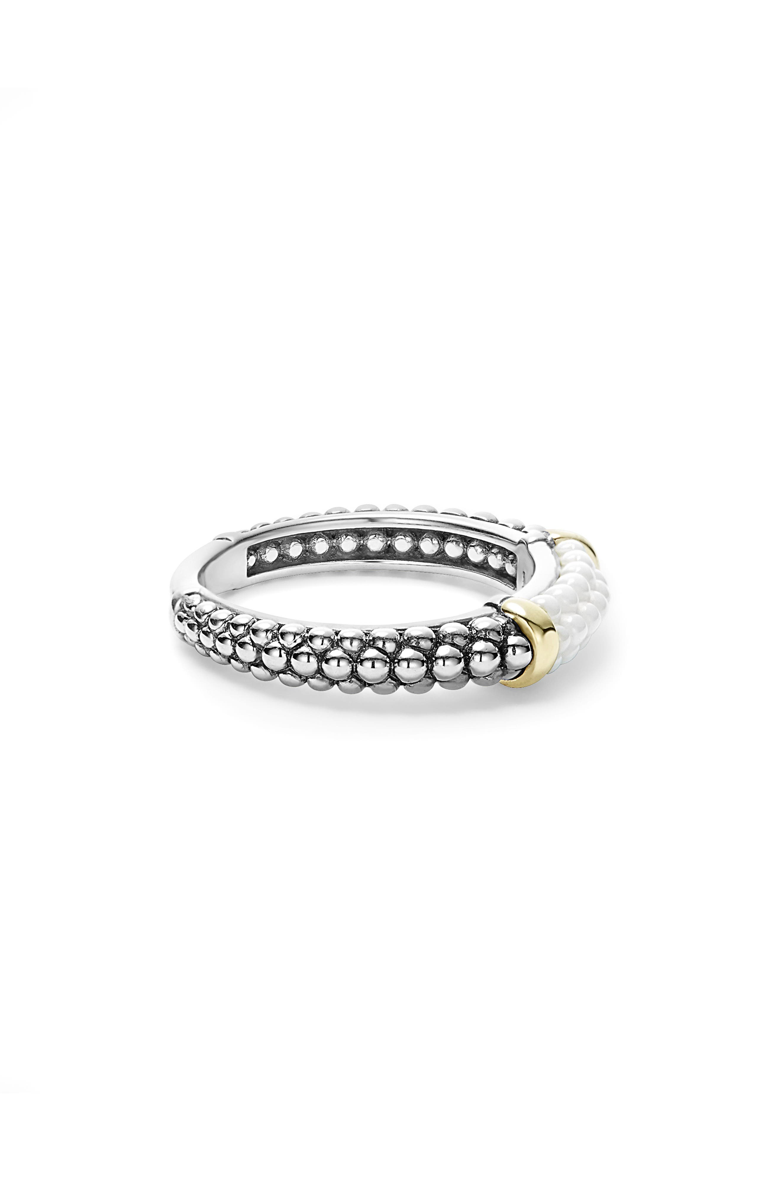 'Caviar' Stacking Ring,                             Alternate thumbnail 3, color,                             WHITE/ GOLD