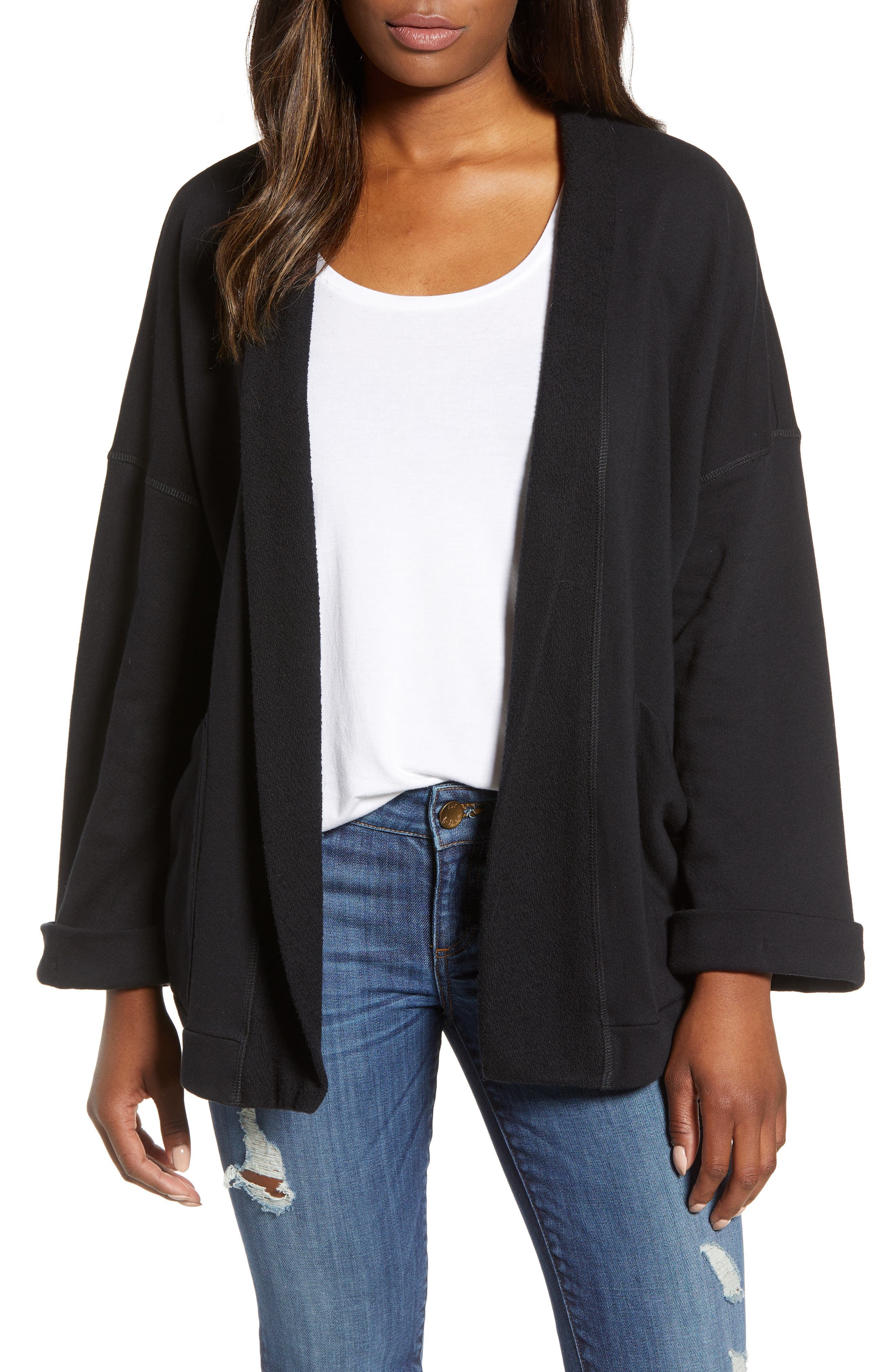 Off-Duty Roll Sleeve Cotton Blend Jacket,                             Main thumbnail 1, color,                             001